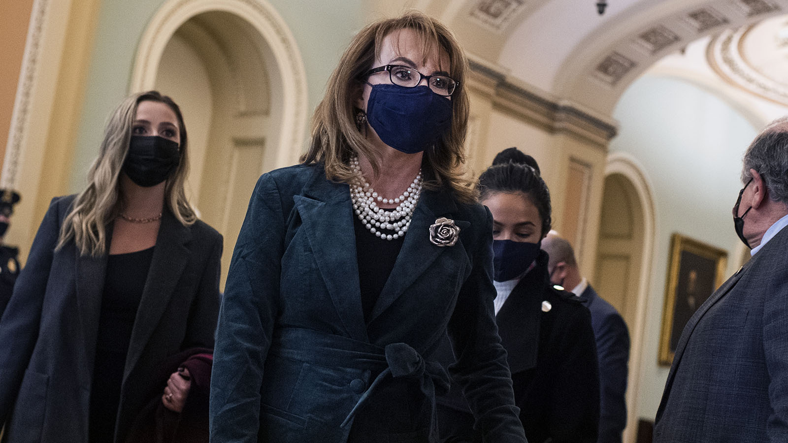 Former Rep. Gabrielle Giffords is seen before her husband Sen. Mark Kelly was sworn into Senate in the Capitol on Wednesday, December 2, 2020.