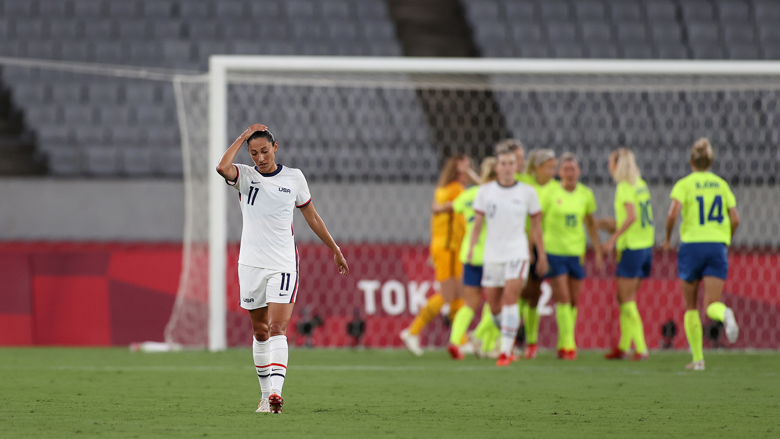 Christen Press #11 of Team United States looks dejected during the Women's First Round Group G match between Sweden and the US during the Tokyo 2020 Olympic Games on July 21, in Chofu, Tokyo, Japan.