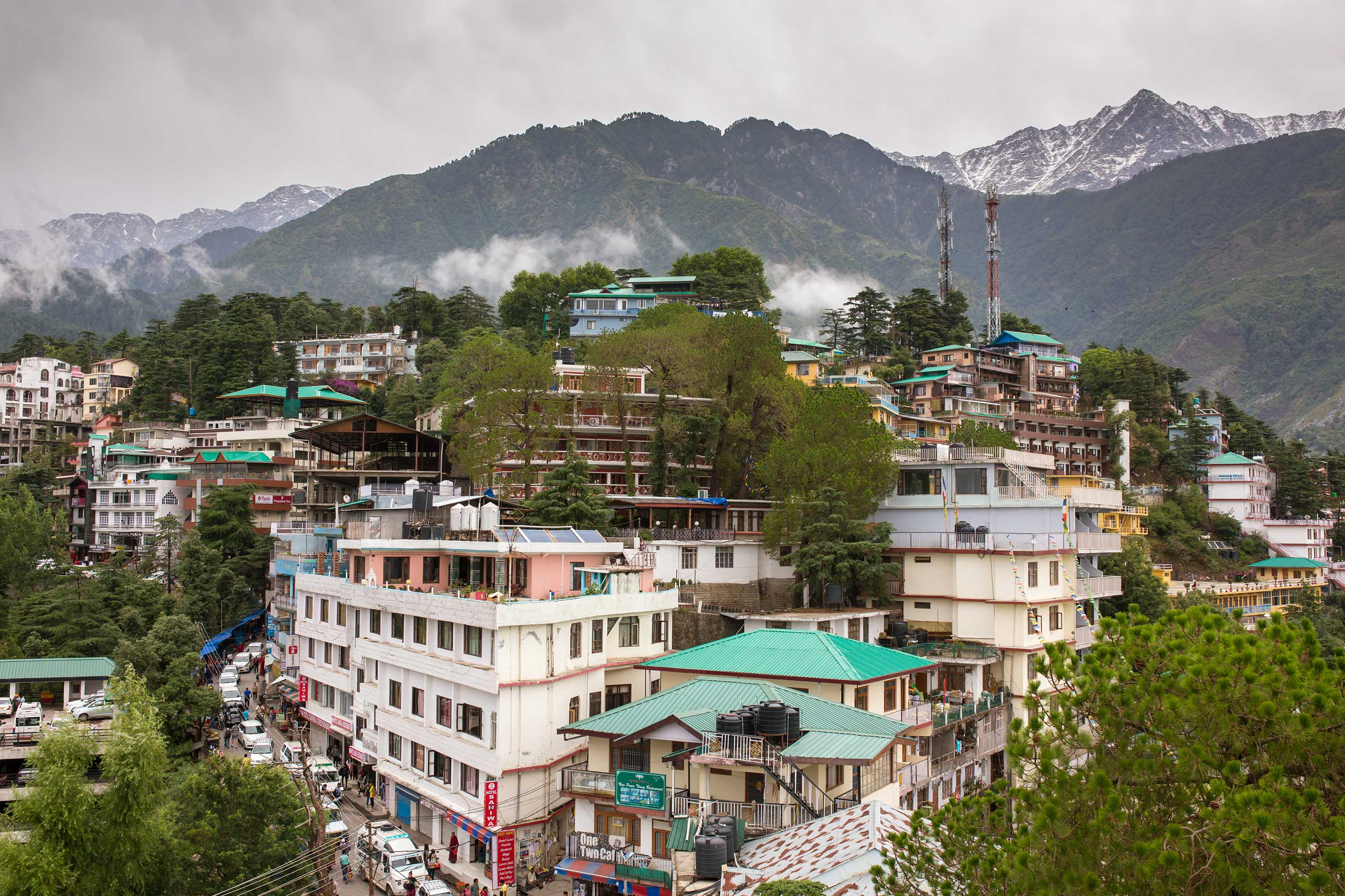 McleodGanj city surrounded by Himalaya mountains, Dharamsala, India on June 7, 2017.