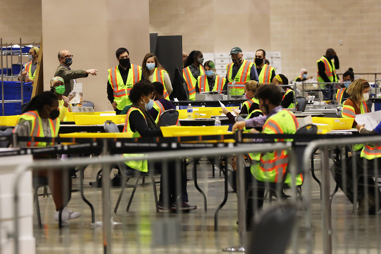 Election workers count ballots on November 3 in Philadelphia, Pennsylvania.