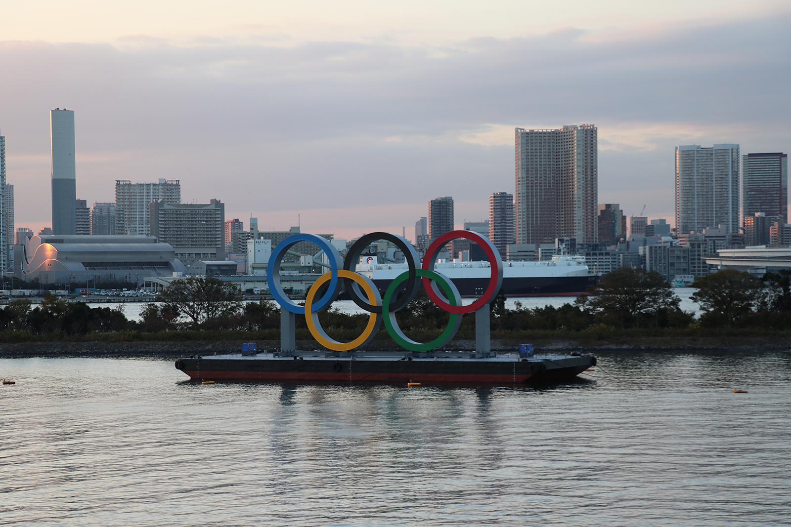 The floating monument, consisting of the Olympic rings, placed in Tokyo Gulf, as a symbol of the 2020 Tokyo Olympics and Paralympic Games, in Tokyo, on December 1.