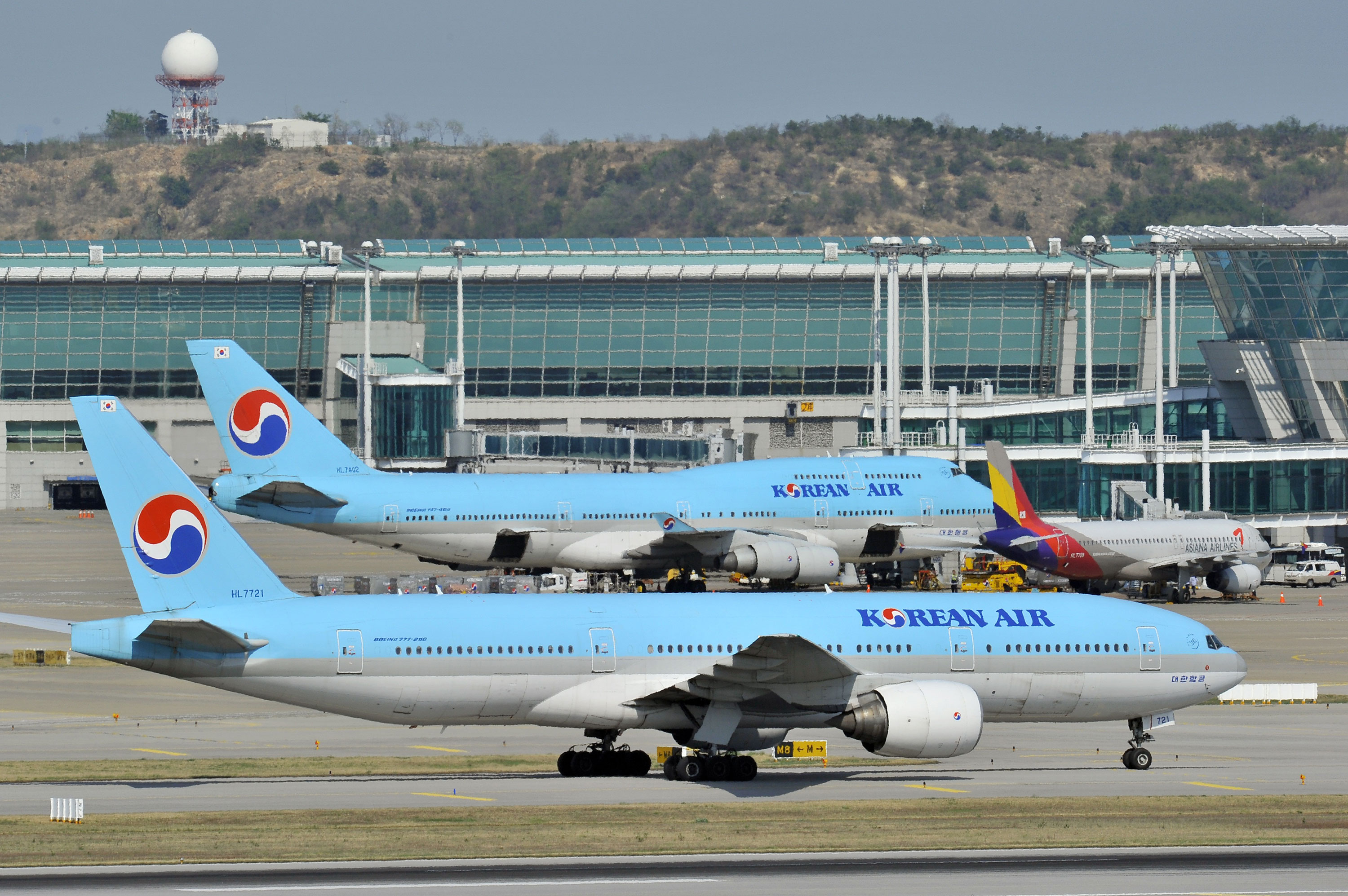 File photo of Korean Air planes at Incheon International Airport in 2012.