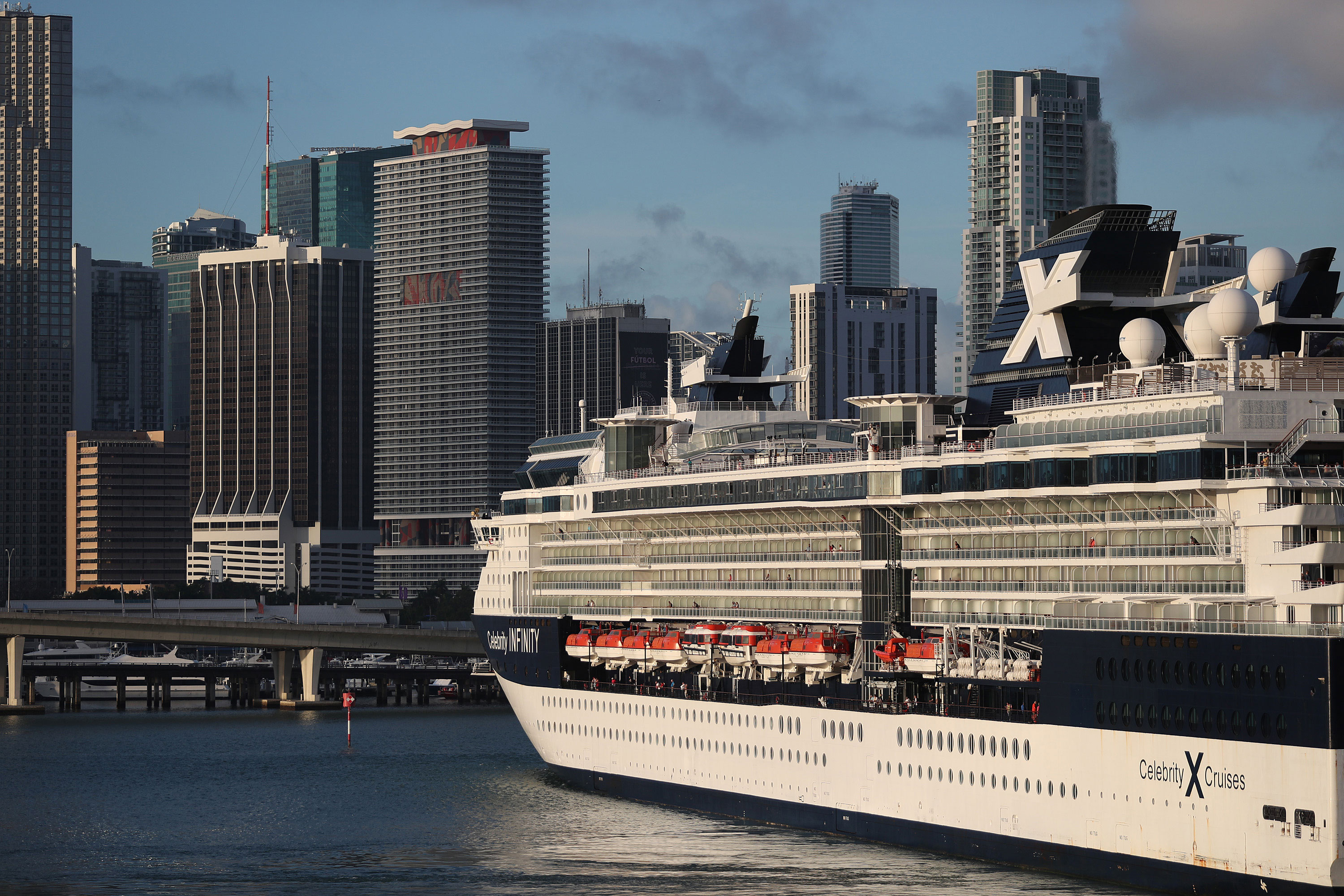The Celebrity Infinity Cruise ship, wholly owned subsidiary of Royal Caribbean Cruises Ltd, returns toPortMiami from a cruise in the Caribbean on March 14 in Miami.