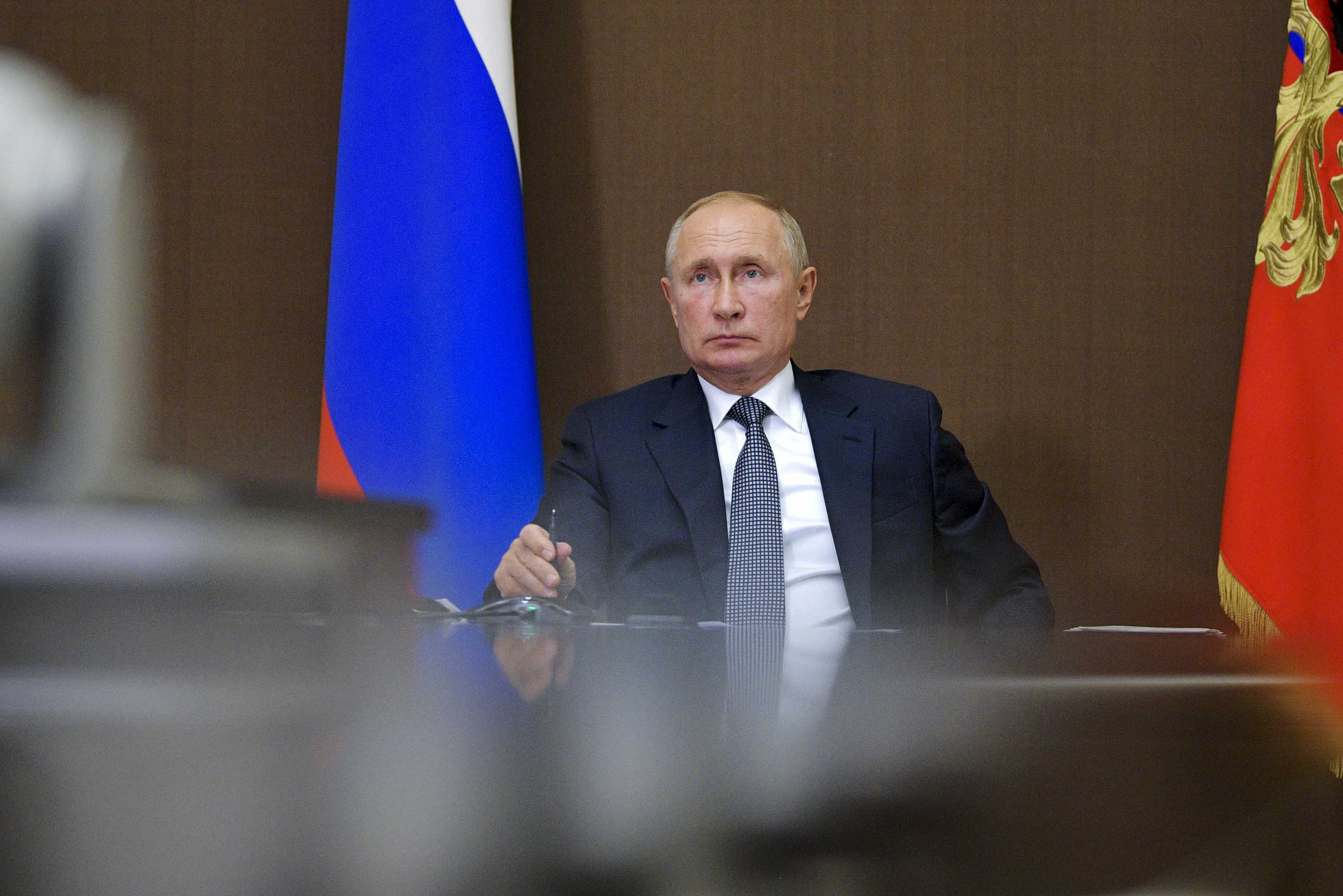 Russian President Vladimir Putin is pictured during a meeting via video conference at the Bocharov Ruchei residence in Sochi, Russia, on Monday, September 28.