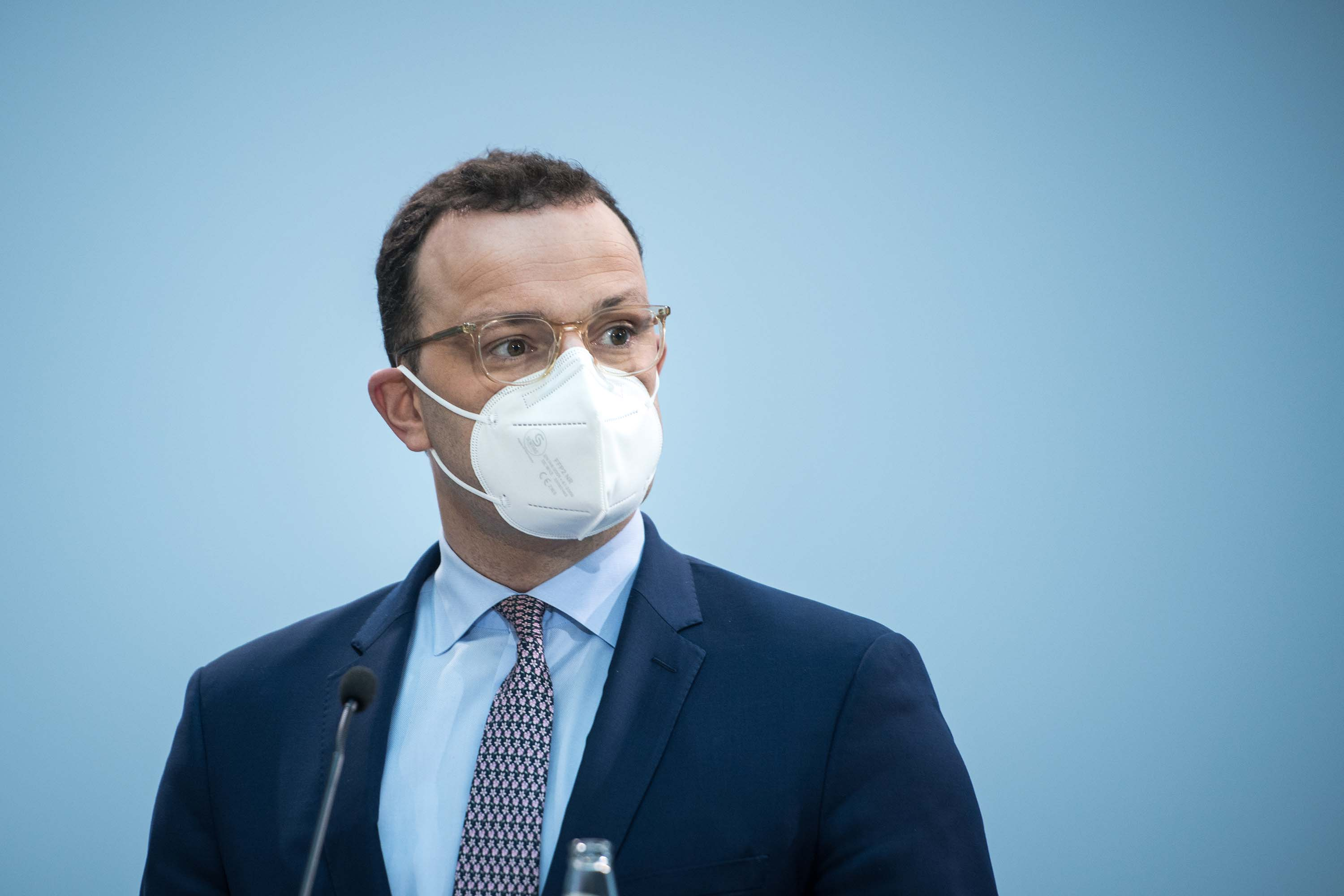 German Health Minister Jens Spahn arrives for a news conference on Friday, December 18, in Berlin, Germany.