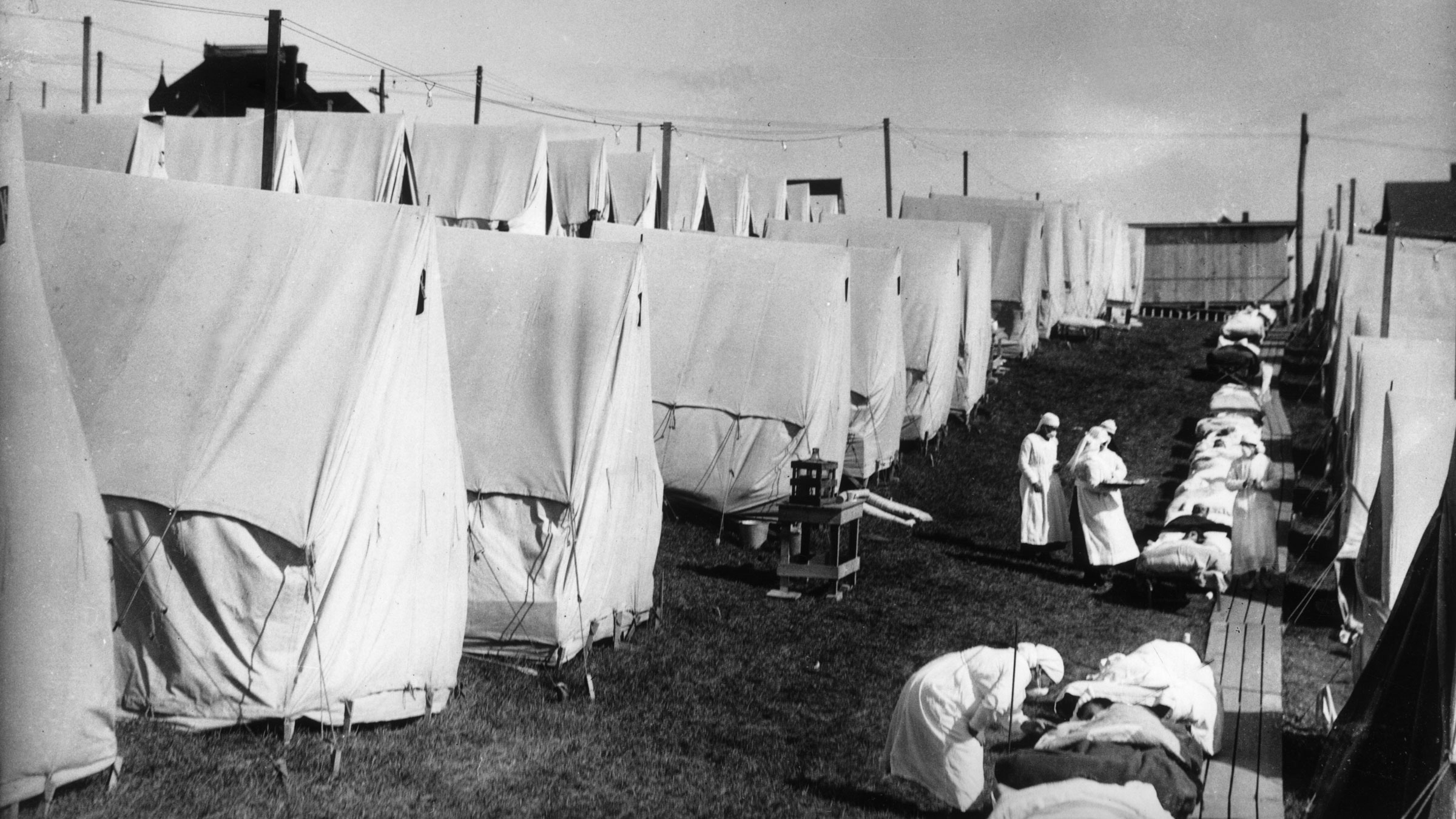 Nurses in Lawrence, Massachusetts, care for victims during the Spanish flu epidemic in 1918.