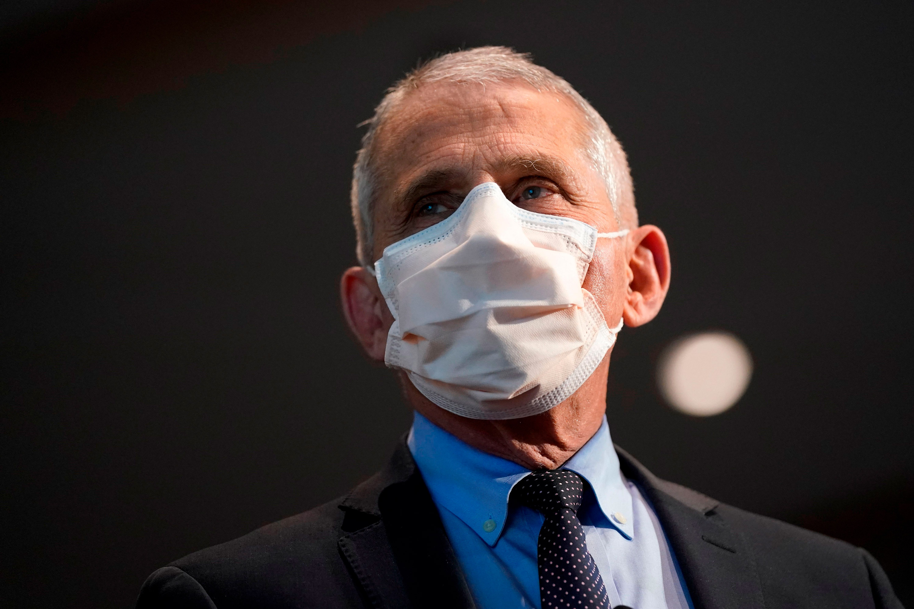 Dr. Anthony Fauci, director of the National Institute of Allergy and Infectious Diseases, speaks at the National Institutes of Health on December 22, 2020, in Bethesda, Maryland.