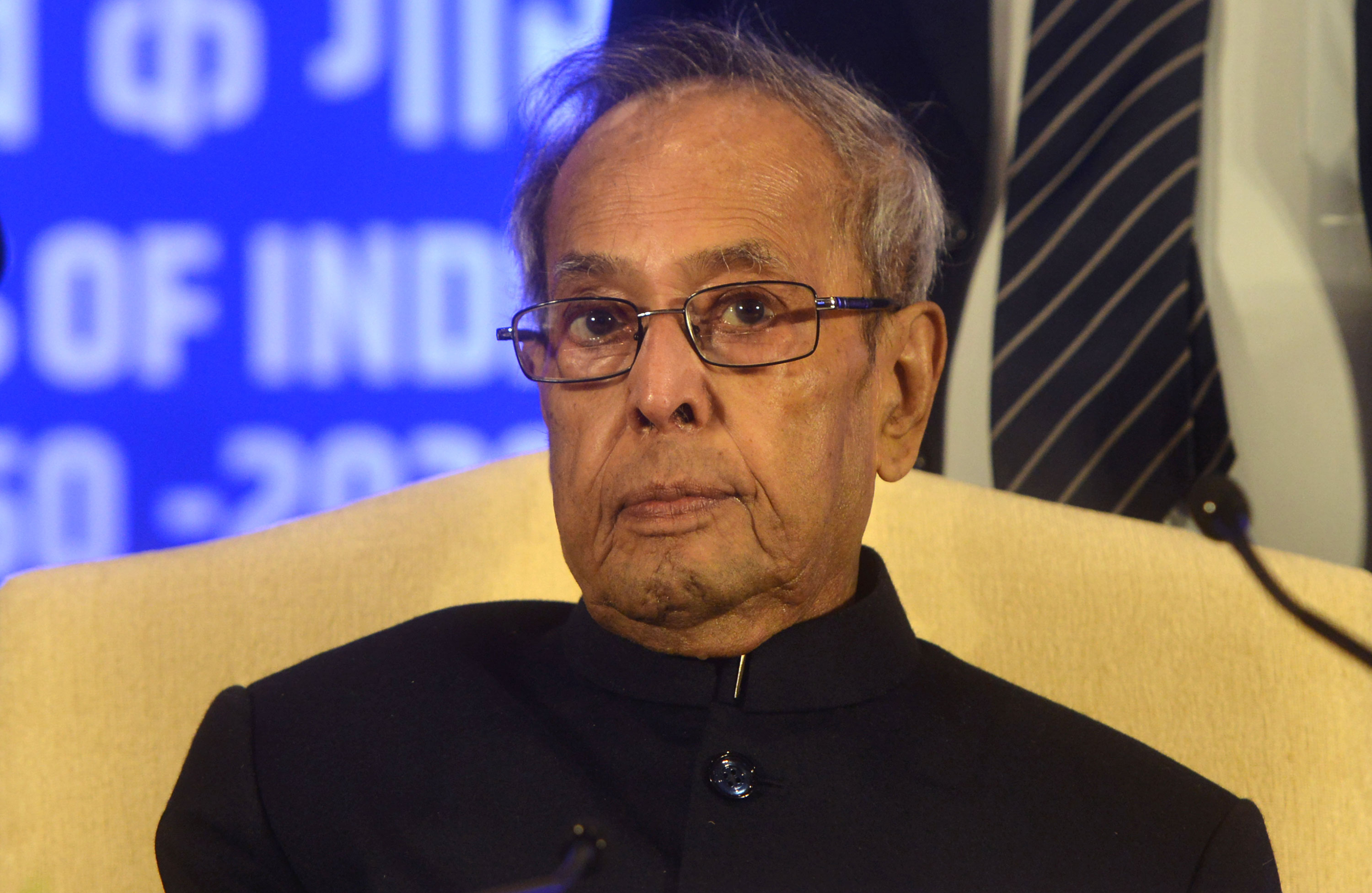 Former President of India, Pranab Mukherjee, attends the Sukumar Sen Memorial Lecture Series in New Delhi, India, on January 23.
