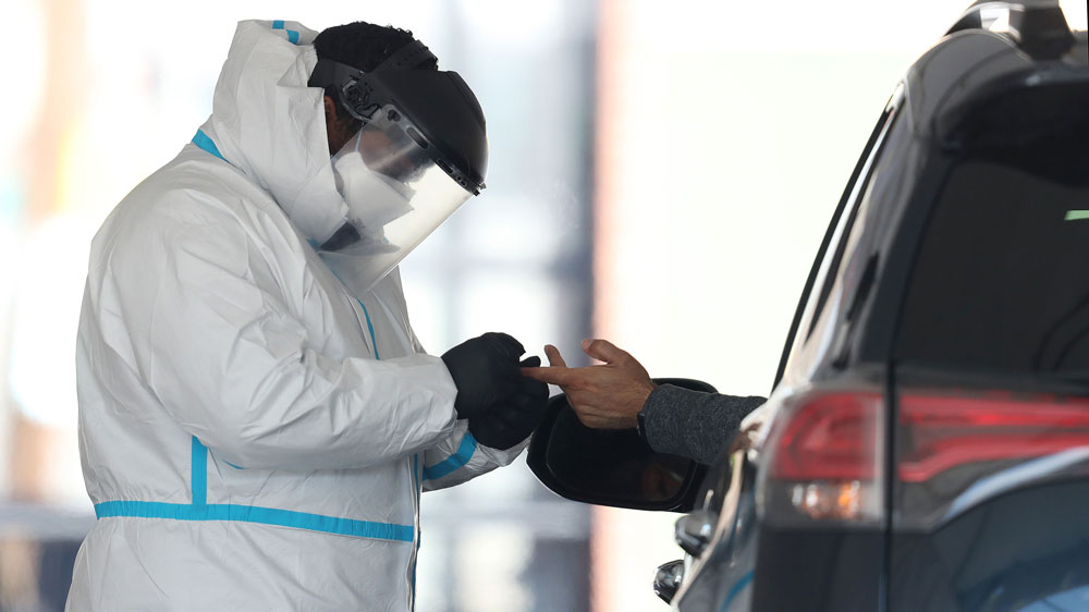A coronavirus antibody test is administered outside of Delmont Medical Square on April 22 in New York.