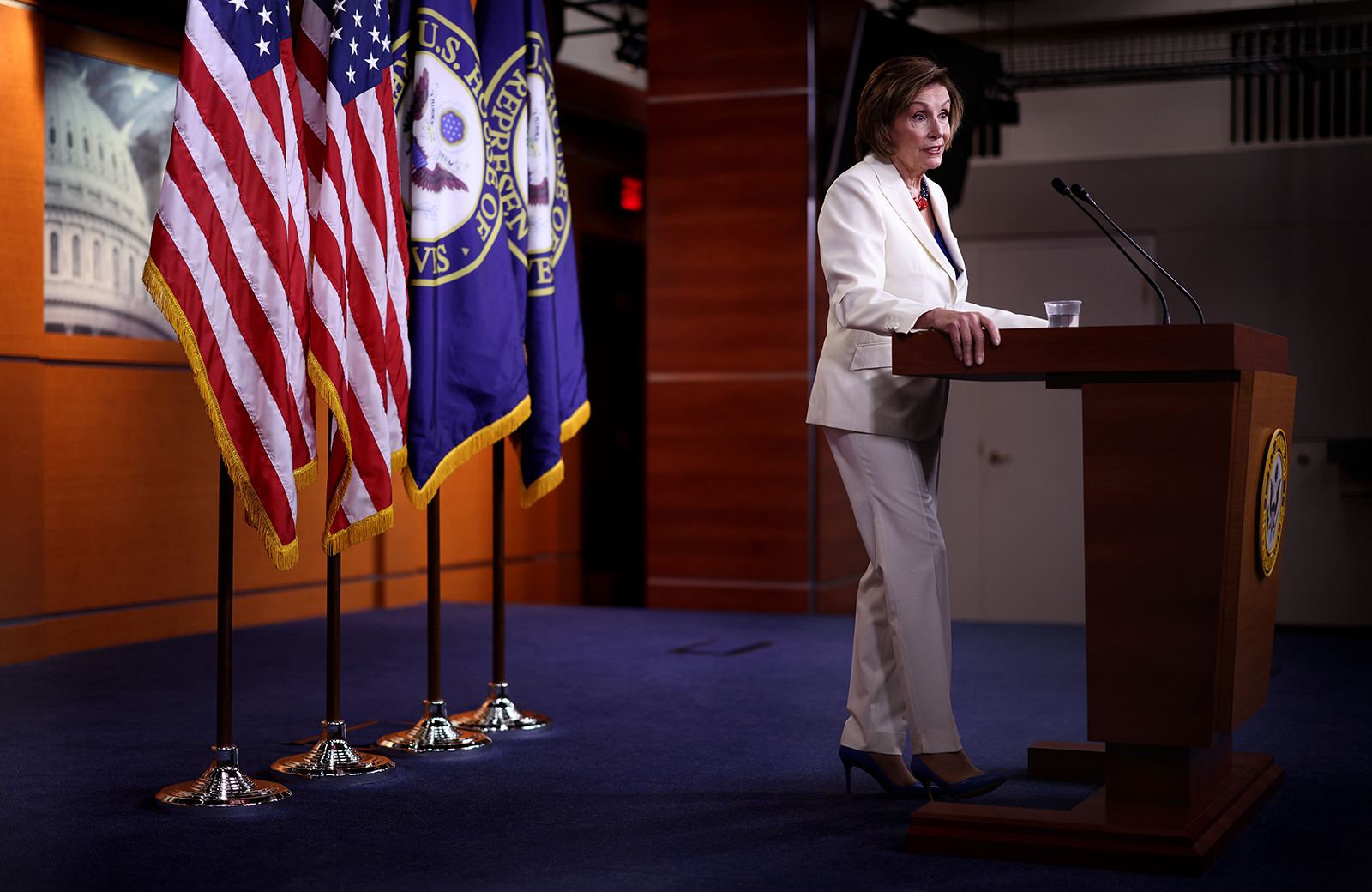 Speaker of the House Nancy Pelosi holds her weekly press conference at the Capitol on May 20, in Washington, DC.