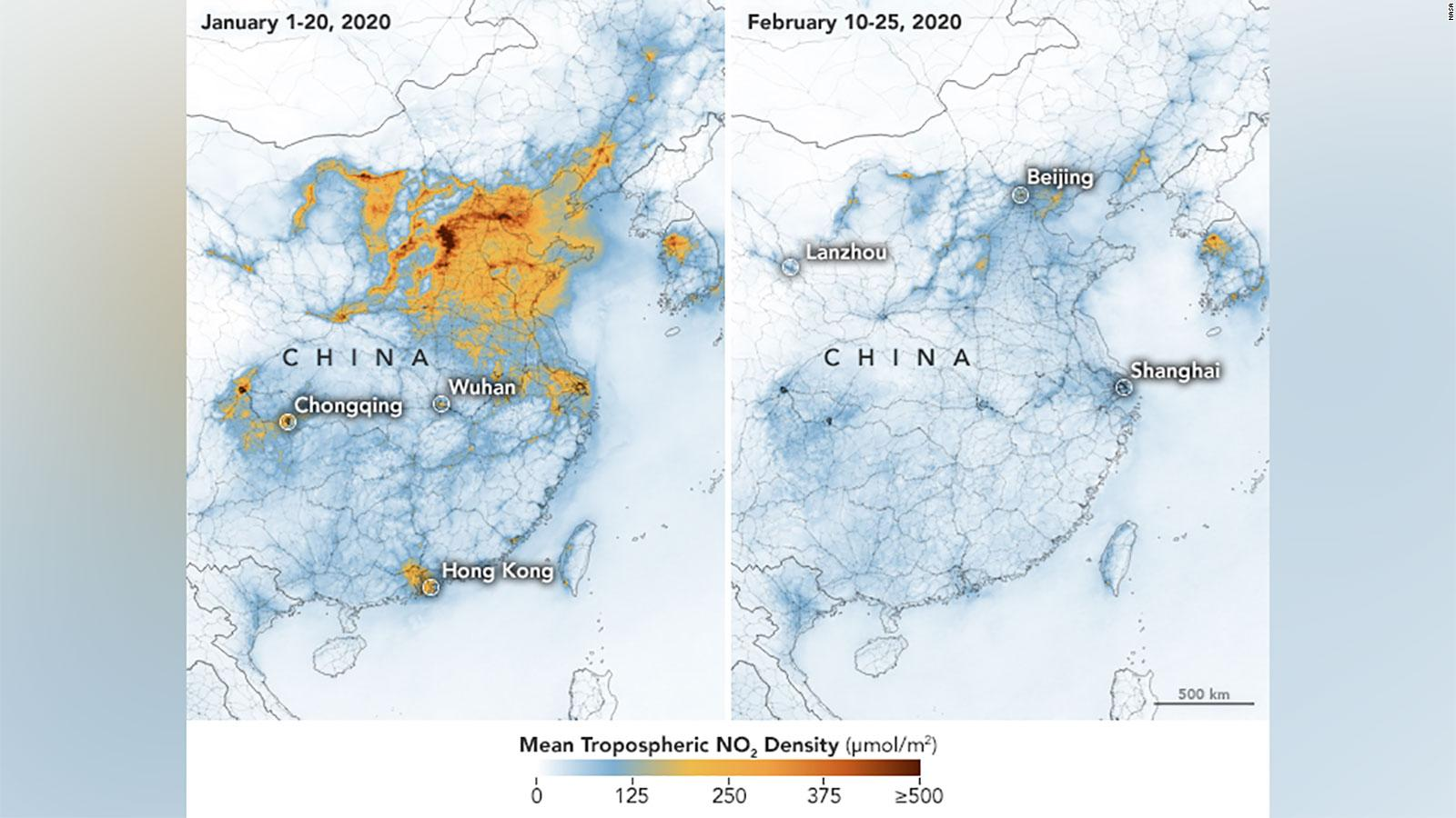 NASA and European Space Agency (ESA) pollution monitoring satellites have detected significant decreases in nitrogen dioxide (NO2) over China. There is evidence that the change is at least partly related to the economic slowdown following the outbreak of coronavirus.