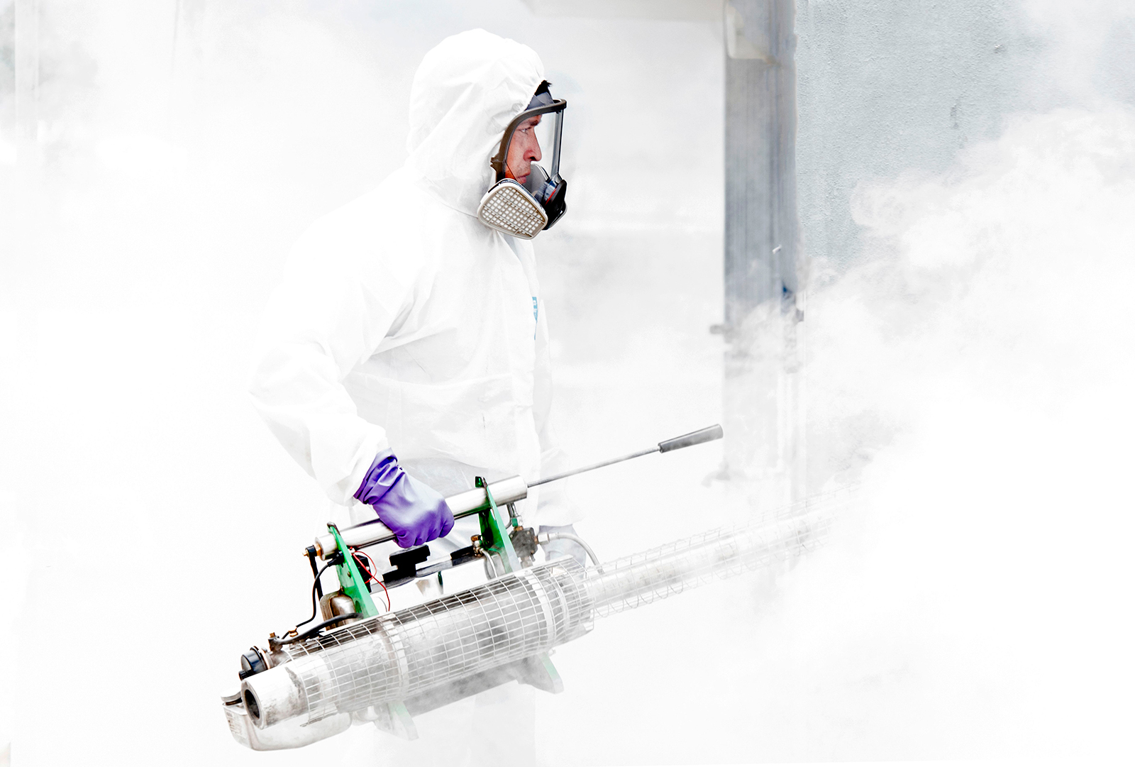 A municipal employee takes part in a disinfection operation against Covid-19 in San Jose, Costa Rica on July 2.