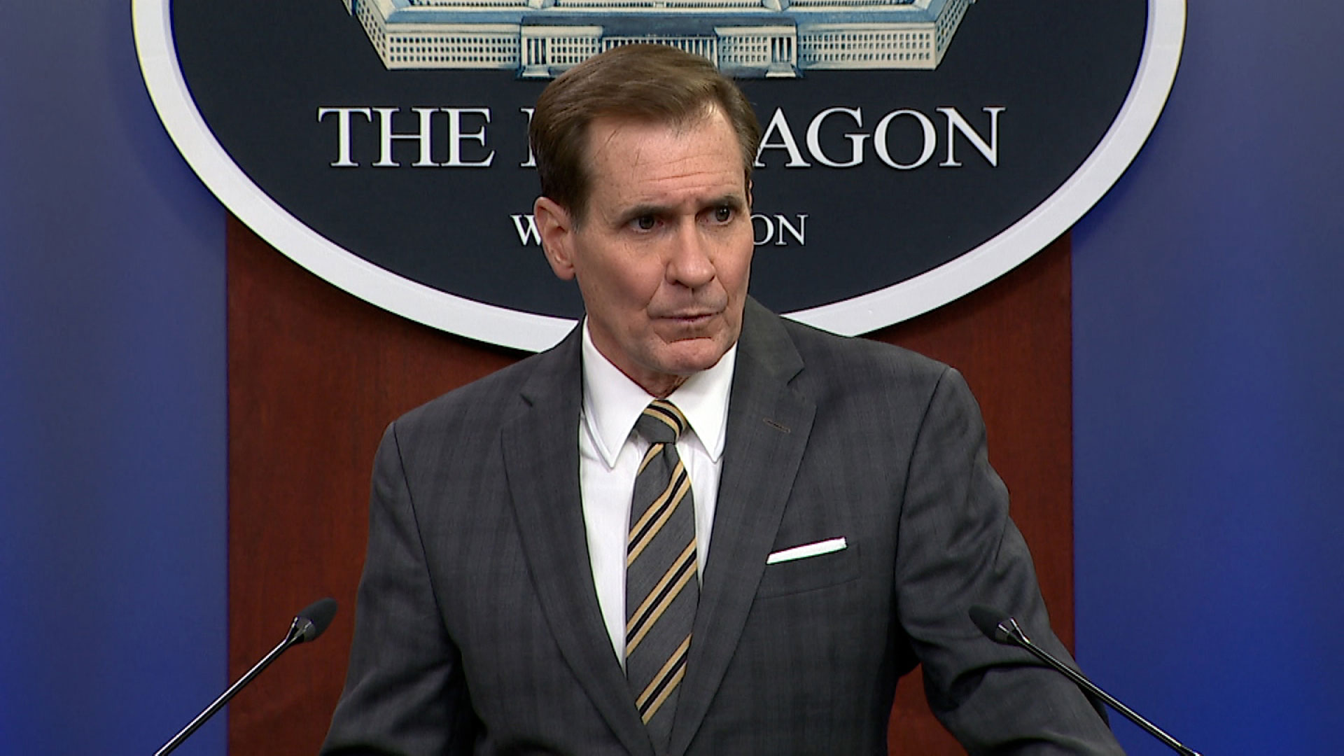 Pentagon press secretary John Kirby speaks at a briefing in Washington, DC, on August 20, 2021.