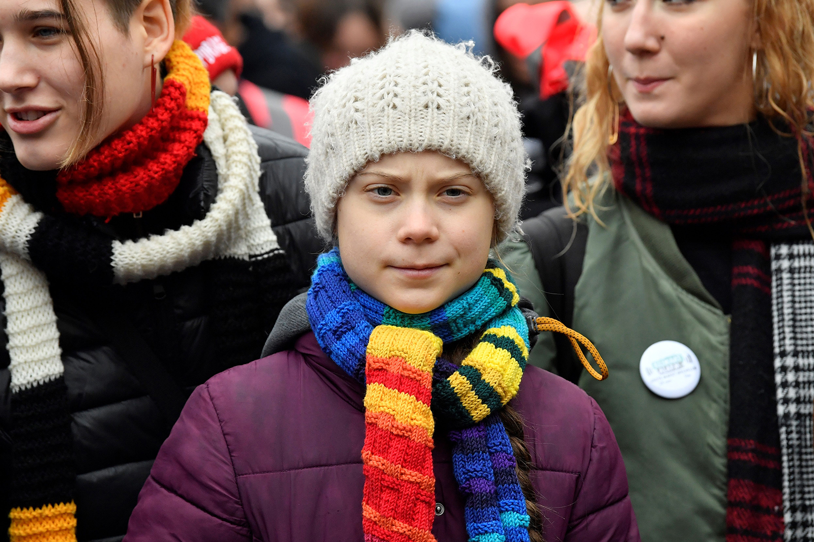 """Swedish climate activist Greta Thunberg takes part in a """"Youth Strike 4 Climate"""" protest march on March 6 in Brussels."""