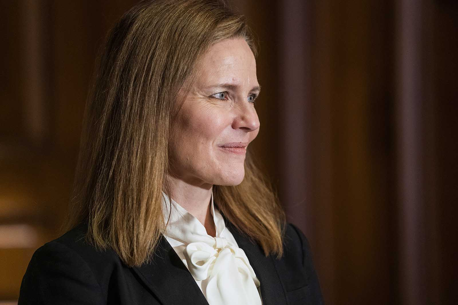 Judge Amy Coney Barrett, President Donald Trumps nominee for the U.S. Supreme Court, meets with Sen. Bill Cassidy on Capitol Hill in Washington, on Thursday, October 1.