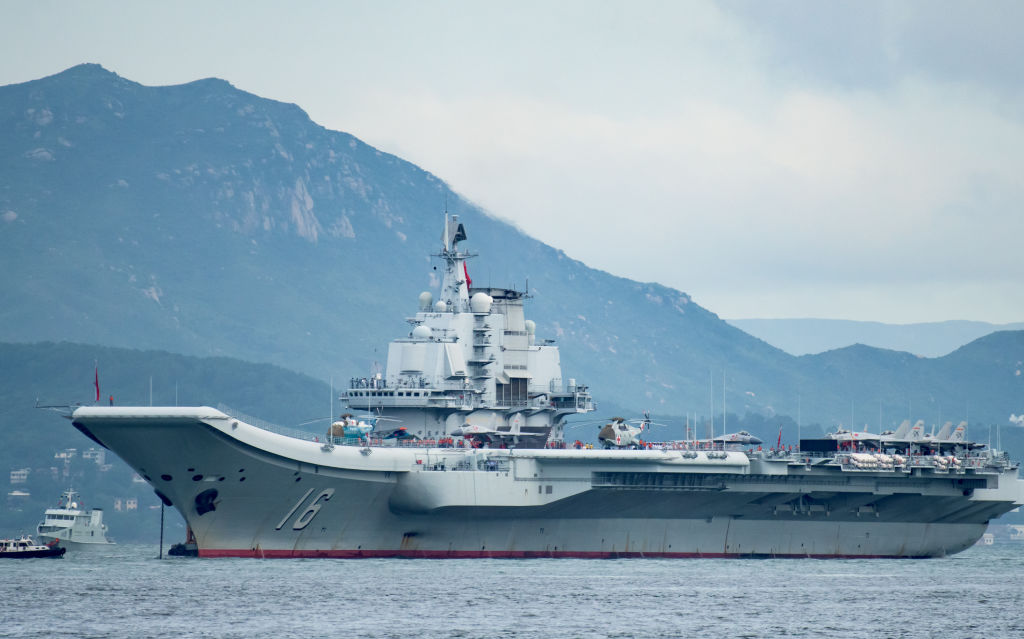 In this file photo from July 7, 2017, China's Liaoning aircraft carrier arrives in Hong Kong.