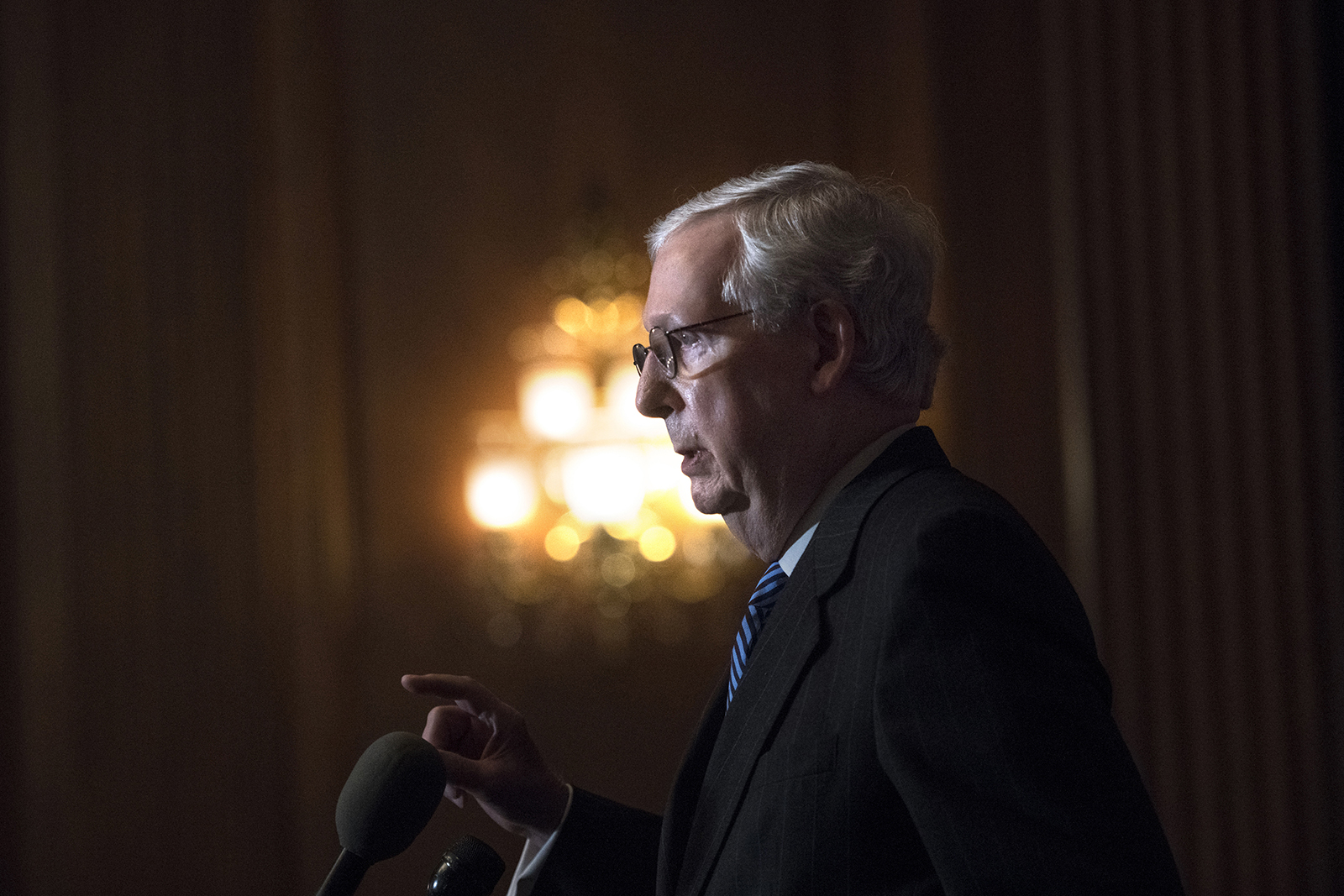 Senate Majority Leader Mitch McConnell of Kentucky speaks during a news conference with other Senate Republicans on Capitol Hill in Washington on Tuesday, Dec. 15.