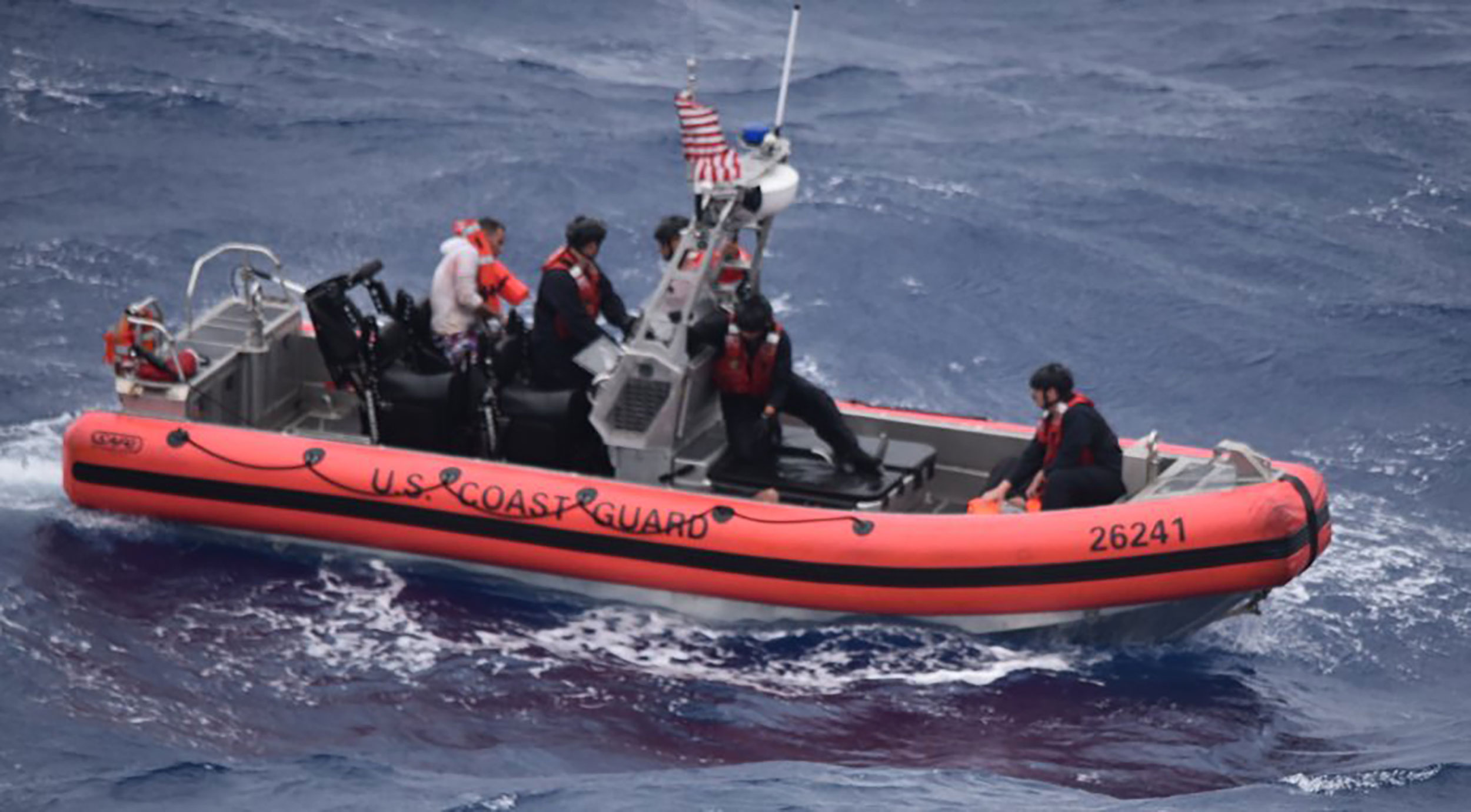 The Coast Guard published this picture of Tuesday's rescue efforts in waters miles off Key West.