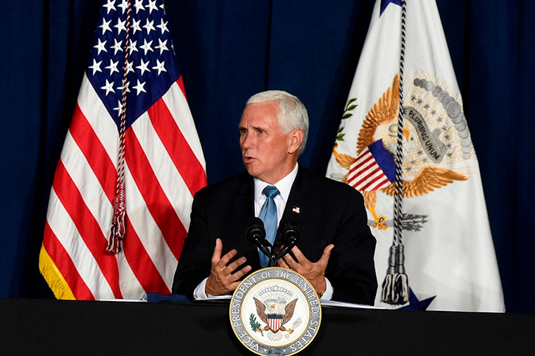 Vice President Mike Pence speaks during a round-table discussion on re-opening schools amid the coronavirus outbreak on Tuesday, July 21, in Columbia, South Carolina.