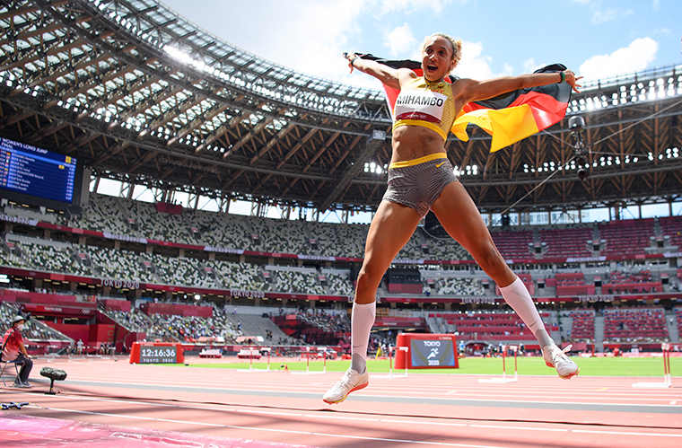 Malaika Mihambo of Team Germany celebrates winning the gold medal in the Women's Long Jump Final on day eleven of the Tokyo 2020 Olympic Games at Olympic Stadium on August 3, 2021.