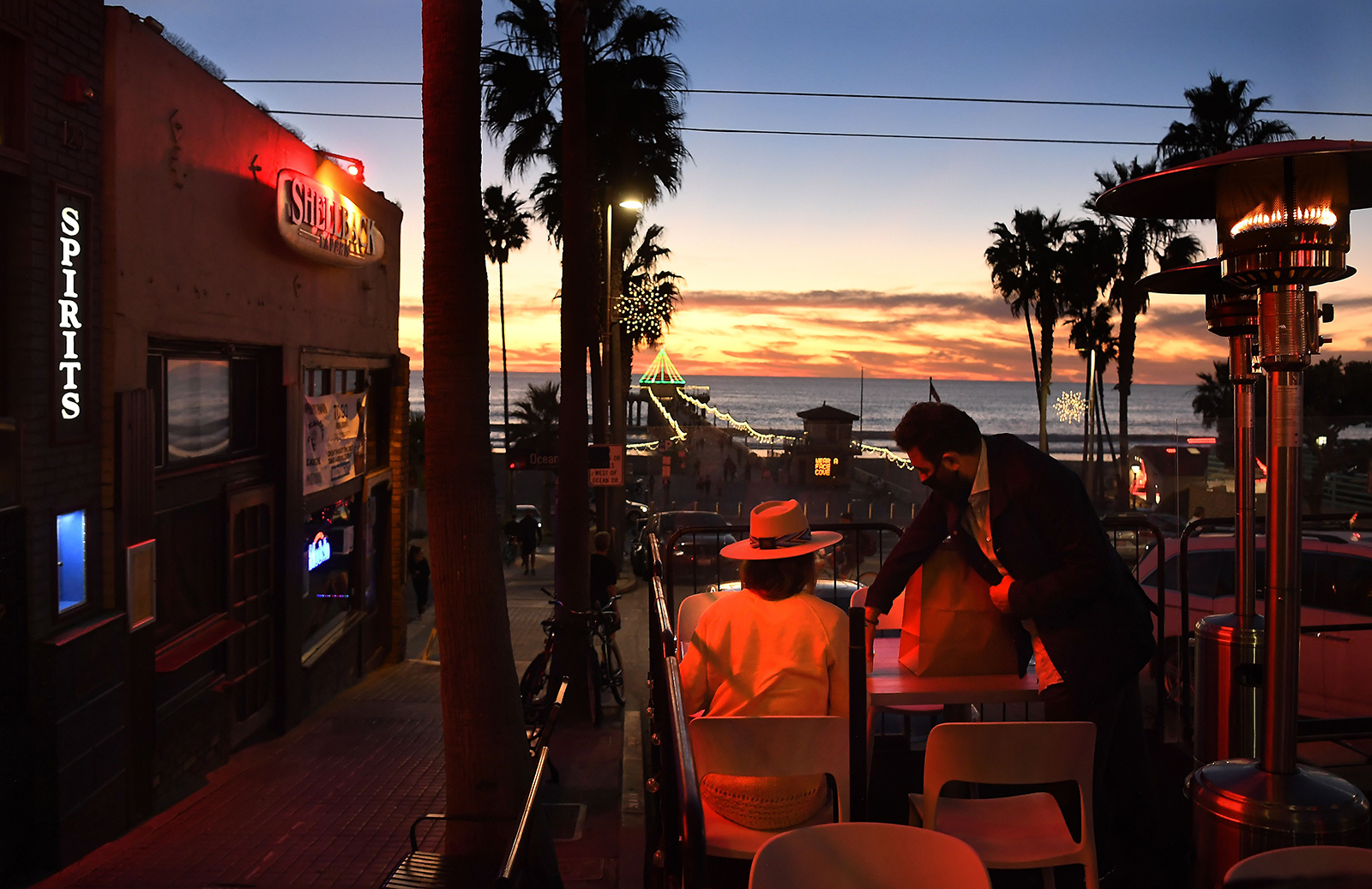 Customers dine along Manhattan Beach Blvd. in Manhattan Beach Friday as a lockdown is looming in L.A.County due to the rise in coronavirus cases, on December 4.