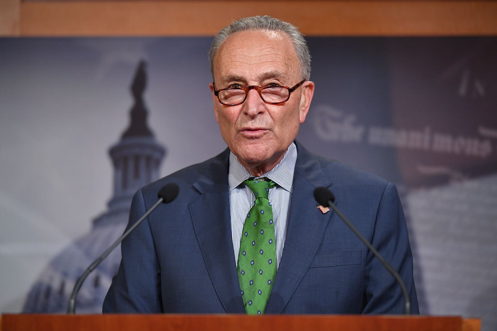 Senate Democratic Leader Chuck Schumer speaks during a press conference at the US Capitol in Washington, on June 9.