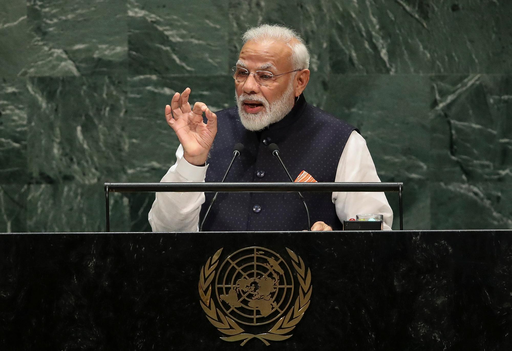 Prime Minister of India Narendra Modi speaks at UN headquarters on September 27, 2019, in New York City.