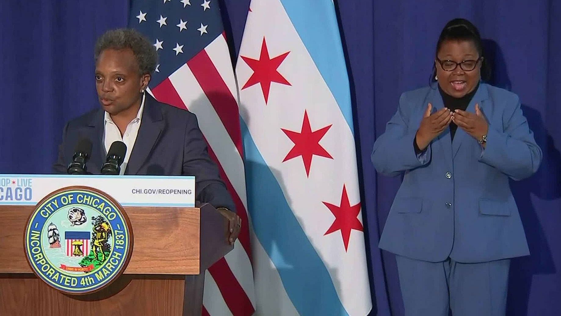 Chicago Mayor Lori Lightfoot speaks during a news conference on Monday.