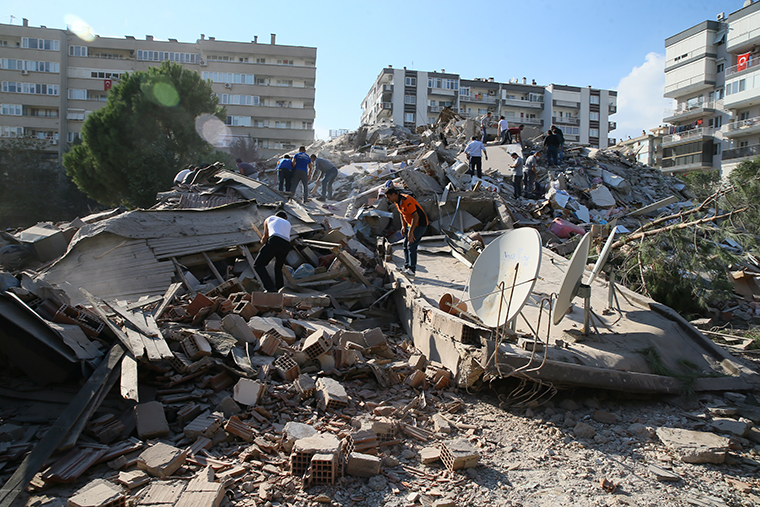 Search and rescue work is being conducted at a building in the Bayrakli district of Izmir after a 7.0 magnitude earthquake shook Turkey's Aegean Sea coast on October 30, 2020.