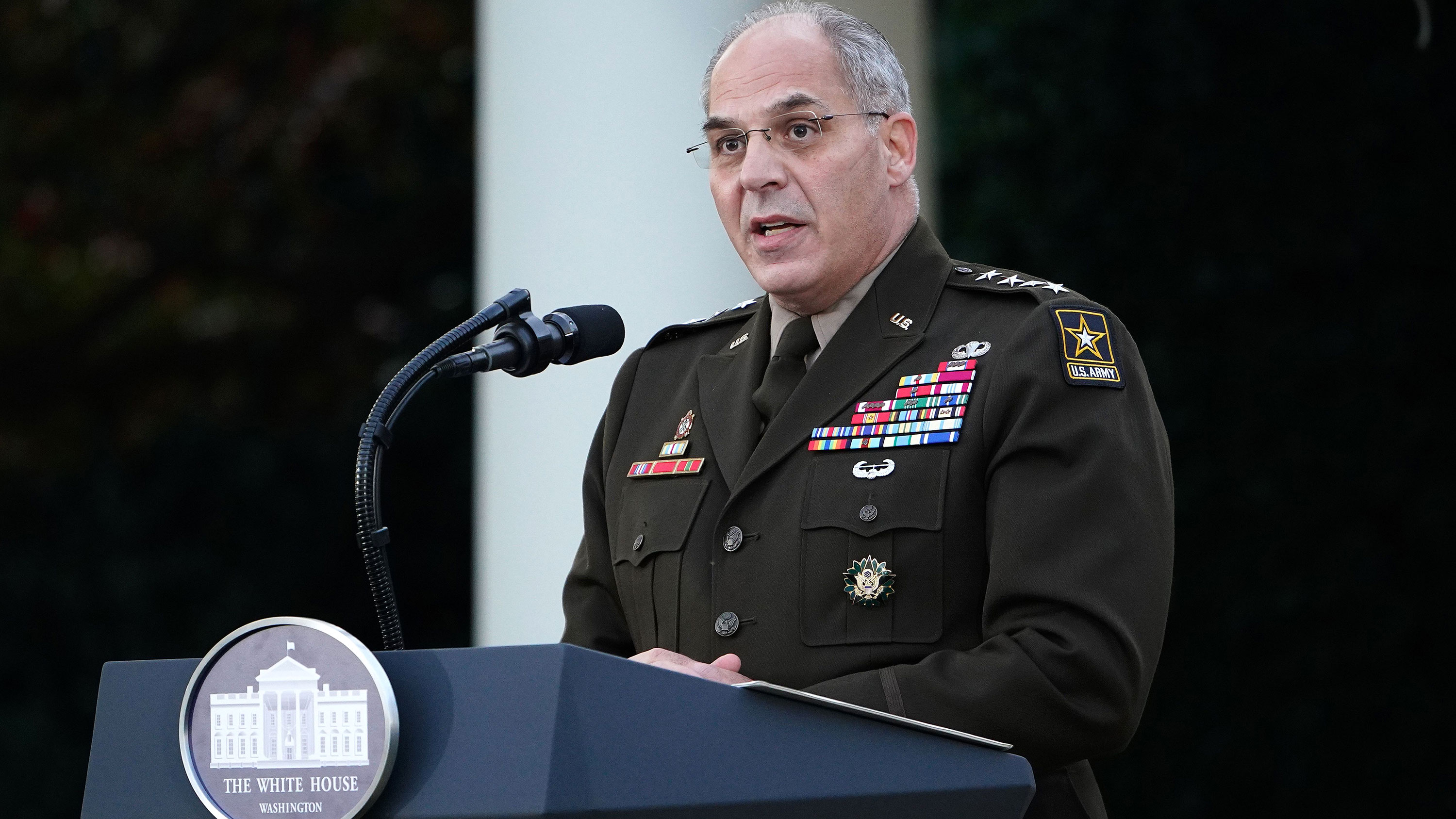 General Gustave Perna speaks during a press conference at the White House on November 13 in Washington, DC.