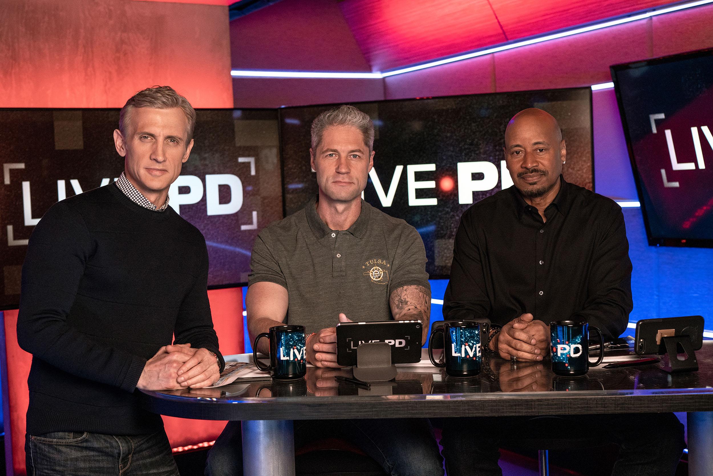 "A&E's ""Live PD"" Cast: From left: Dan Abrams, Sean ""Sticks"" Larkin, and Tom Morris Jr."