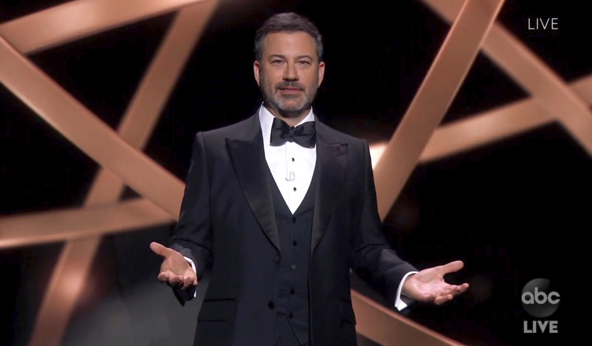 In this video grab captured on Sept. 20, 2020, courtesy of the Academy of Television Arts & Sciences and ABC Entertainment, host Jimmy Kimmel speaks during the 72nd Emmy Awards broadcast.