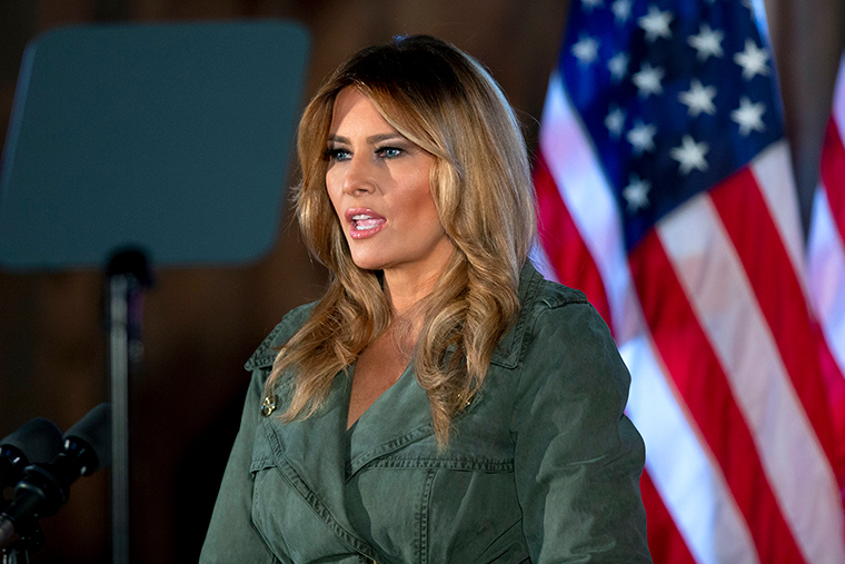 First lady Melania Trump speaks during a campaign rally on Tuesday, October 27, in Atglen, Pennsylvania.