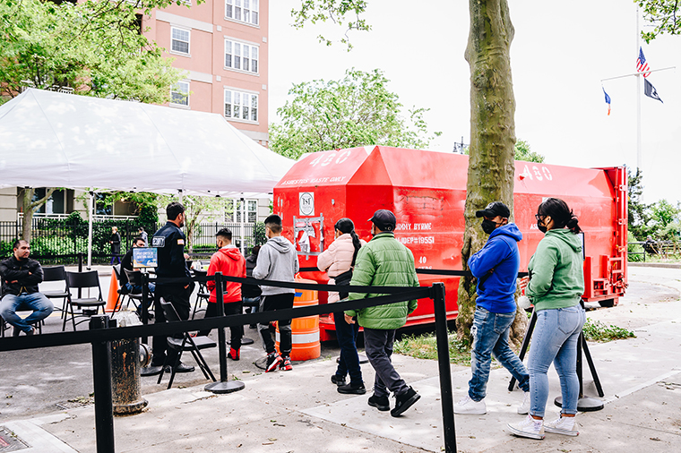People enter a mobile Covid-19 vaccine clinic at Brighton Beach in Brooklyn on Monday, May 31.