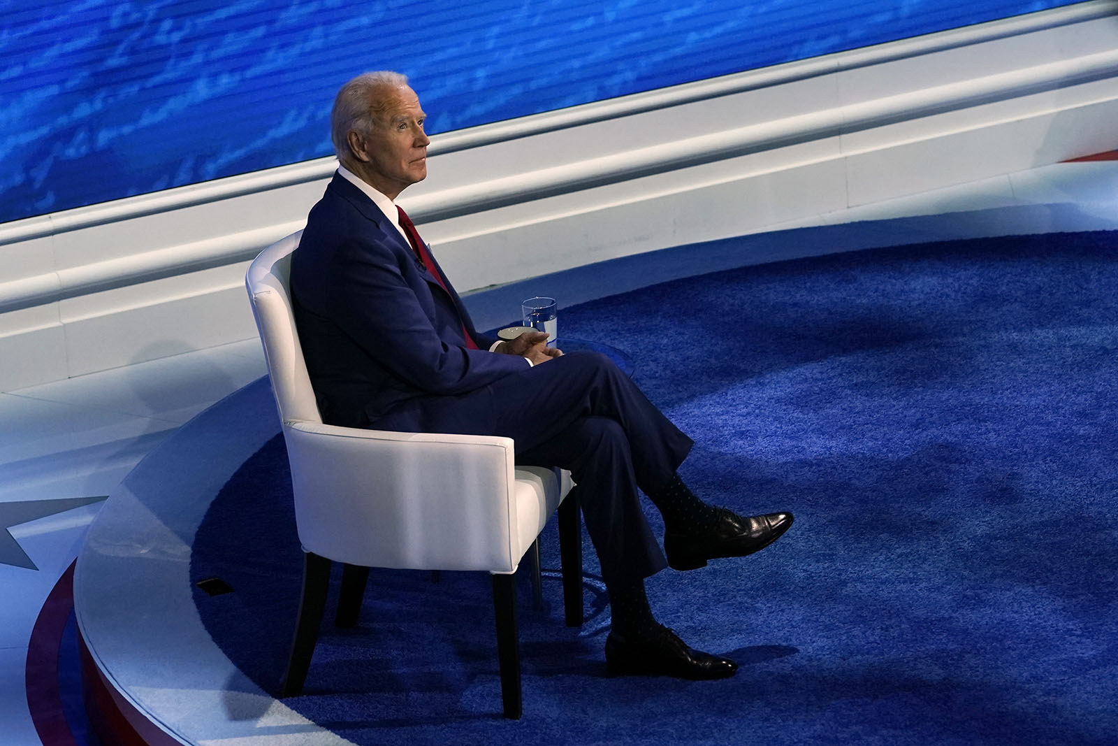 Democratic presidential candidate former Vice President Joe Biden looks up as he participates in a town hall with moderator ABC News anchor George Stephanopoulos at the National Constitution Center in Philadelphia on Thursday.