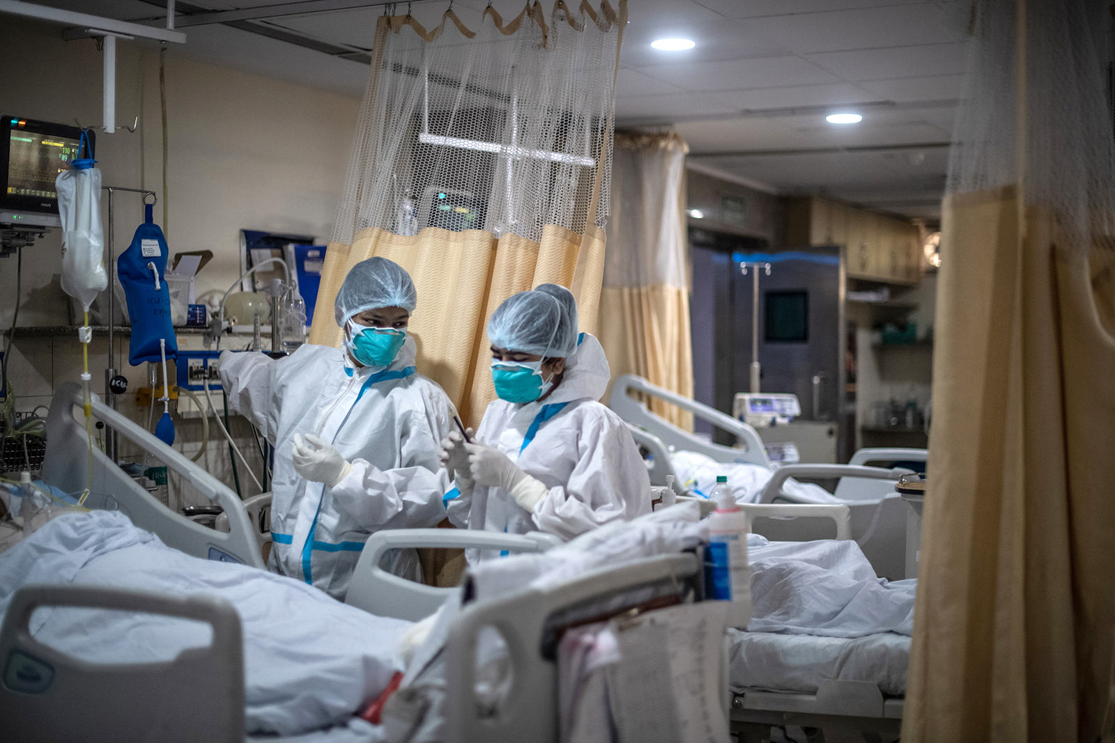 Medical staff attend to Covid-19 patients in the ICU ward at the Holy Family hospital in New Delhi, India, on May 06.