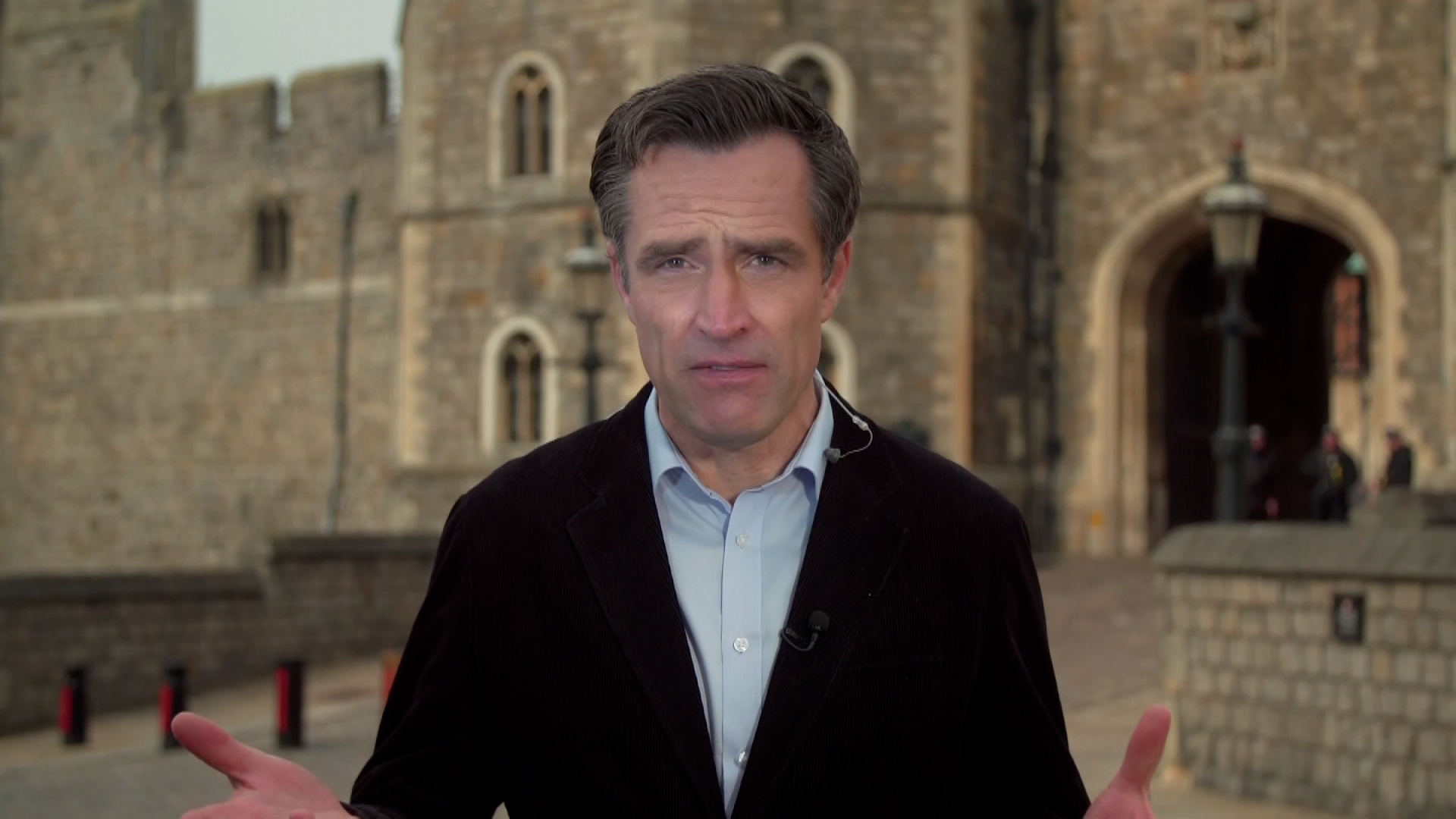 CNN's royal correspondent Max Foster speaks outside outside Windsor Palace in Windsor, England, on March 8.