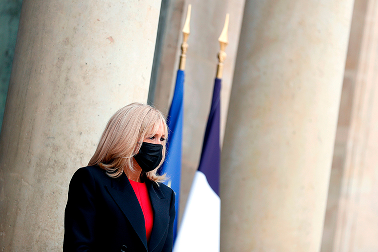 French President's wife Brigitte Macron at the Elysée Palace in Paris on October 8, 2020.