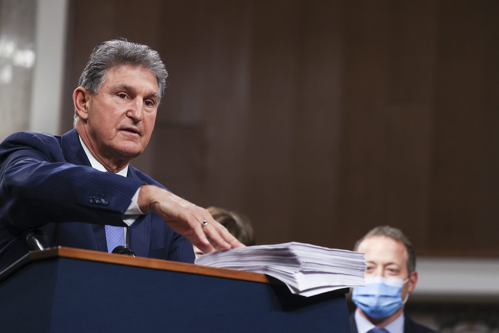Sen. Joe Manchin speaks alongside a bipartisan group of Democrat and Republican members of Congress as they announce a proposal for a Covid-19 relief bill on Capitol Hill on December 14 in Washington.
