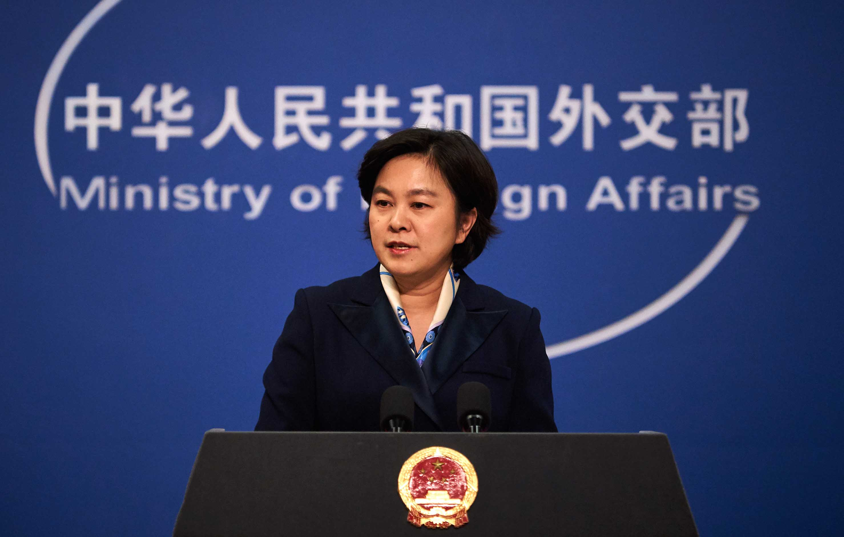 Chinese Foreign Ministry spokesperson Hua Chunying is pictured at a weekly press briefing in Beijing, in March 2018.