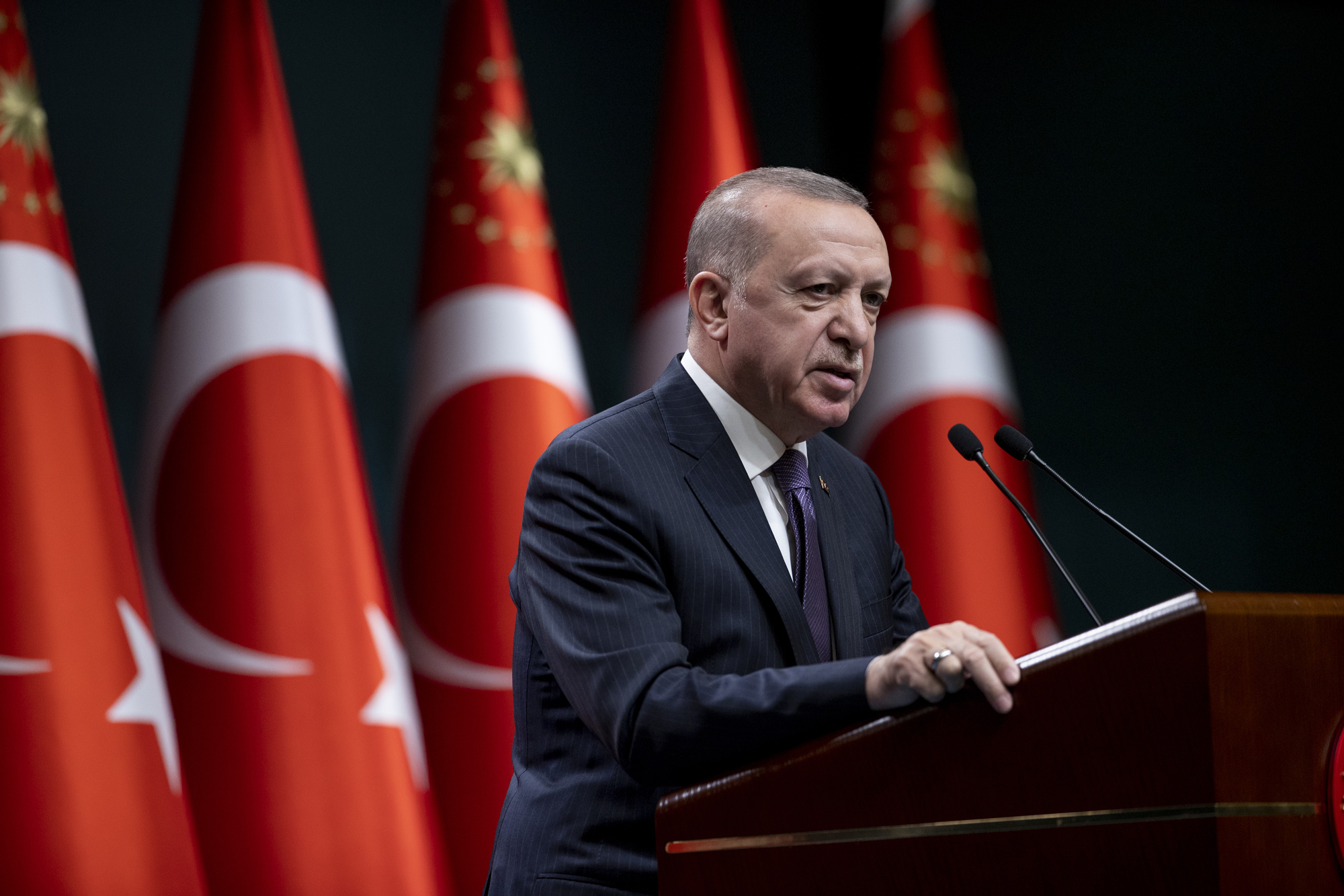 Turkish President Recep Tayyip Erdogan makes a statement during a press conference at the Presidential Complex in Ankara, Turkey, on April 26.