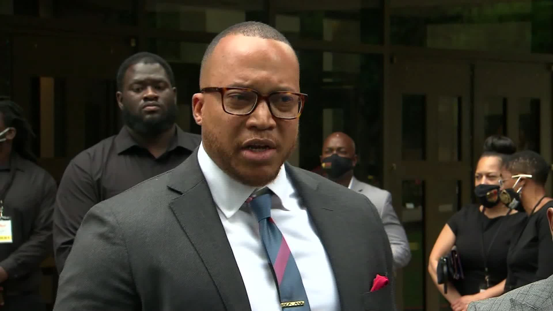Attorney Justin Miller speaks outside of the funeral for Rayshard Brooks at Ebenezer Baptist Church in Atlanta on June 23.