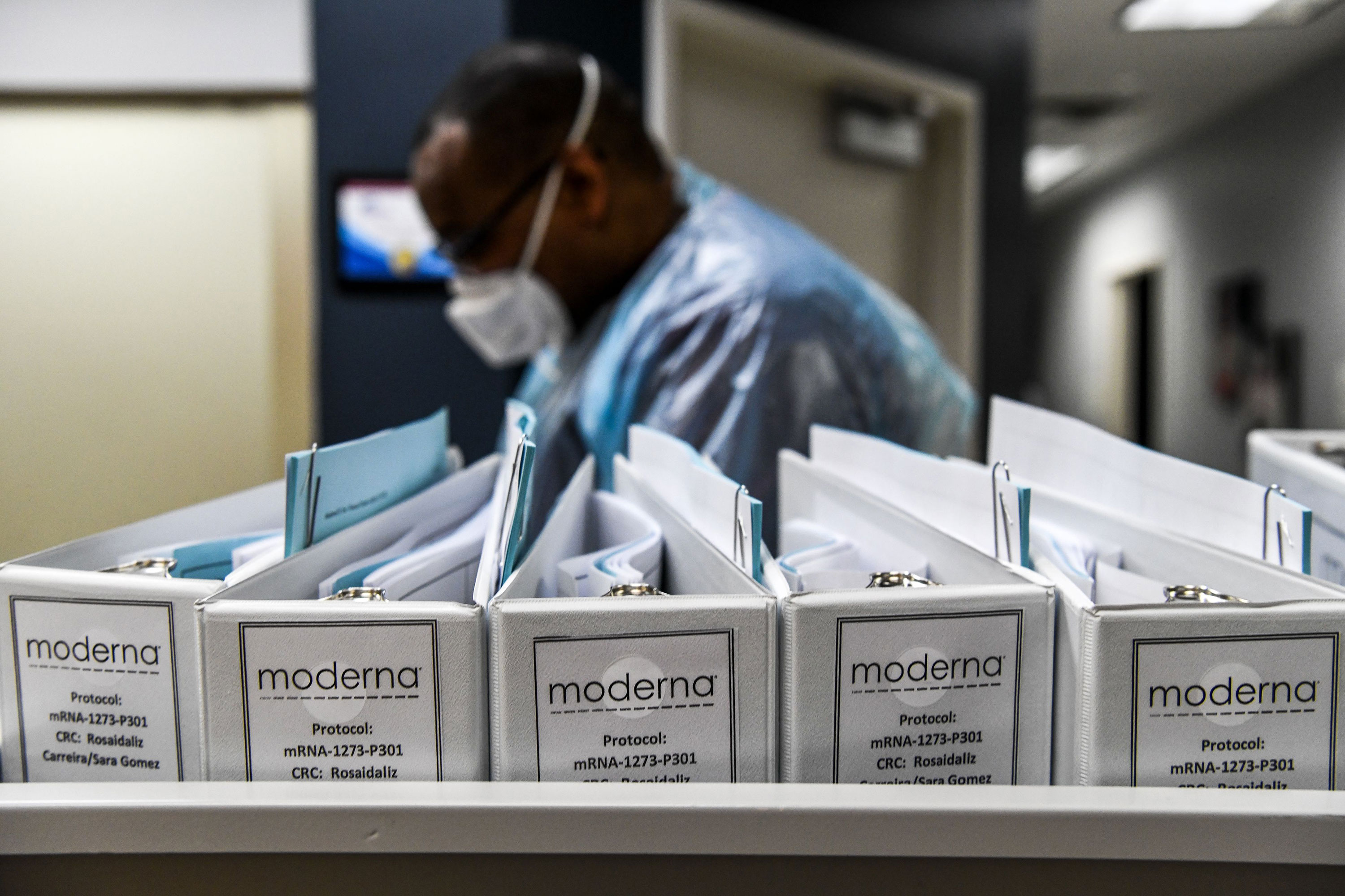 Moderna Protocol files for Covid-19 vaccinations are seen at the Research Centers of America in Hollywood, Florida, on August 13.