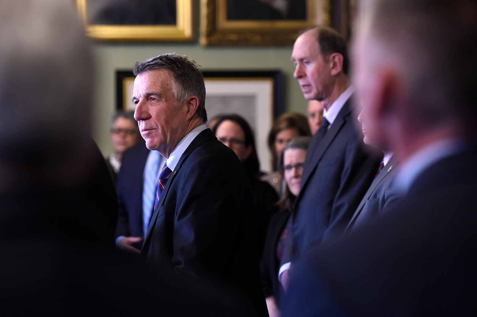 Gov. Phil Scott speaks at a press conference in Montpelier, Vermont, on March 13.