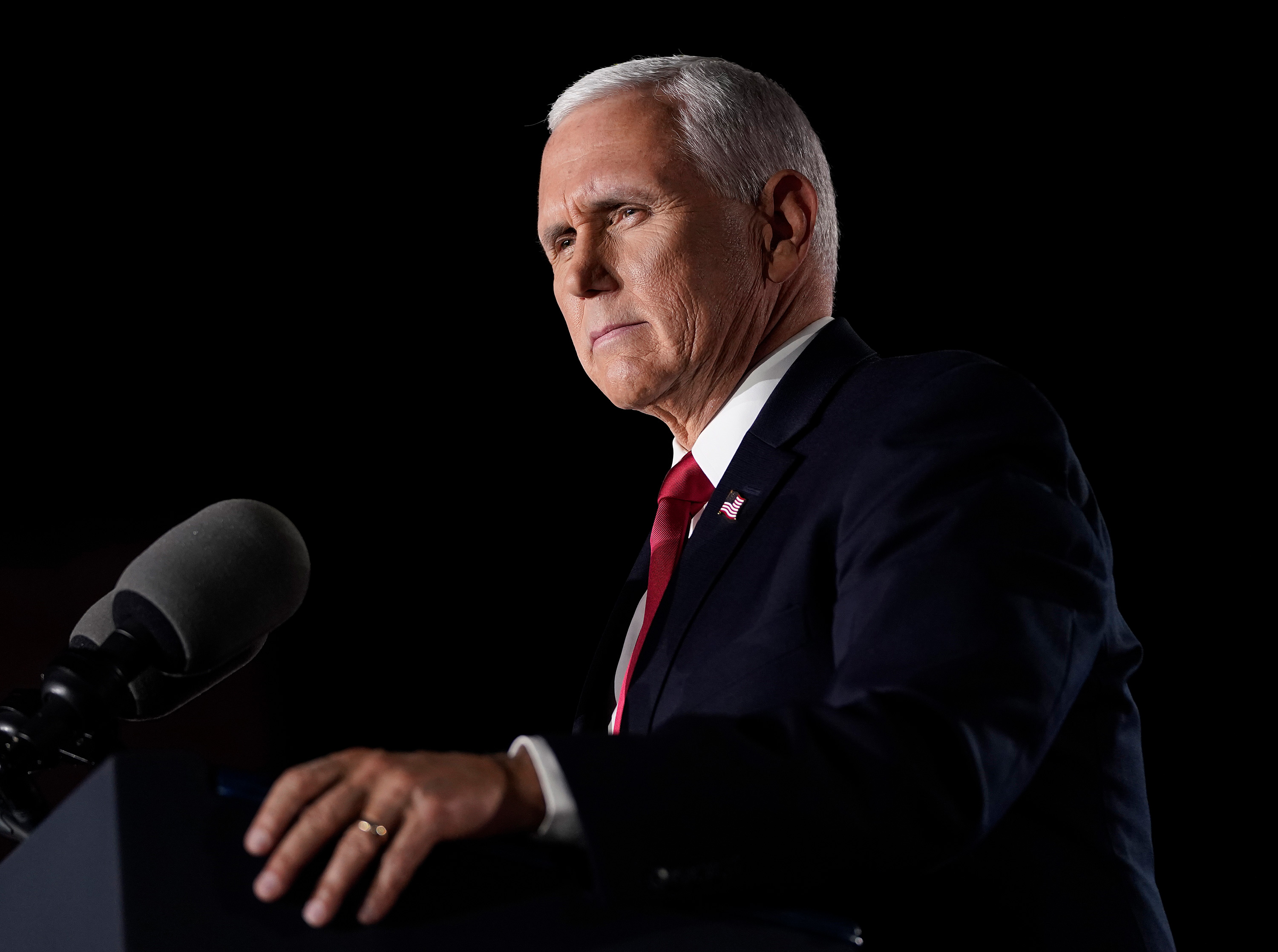 Vice President Mike Pence accepts the vice presidential nomination during the Republican National Convention from Fort McHenry National Monument on August 26 in Baltimore, Maryland.