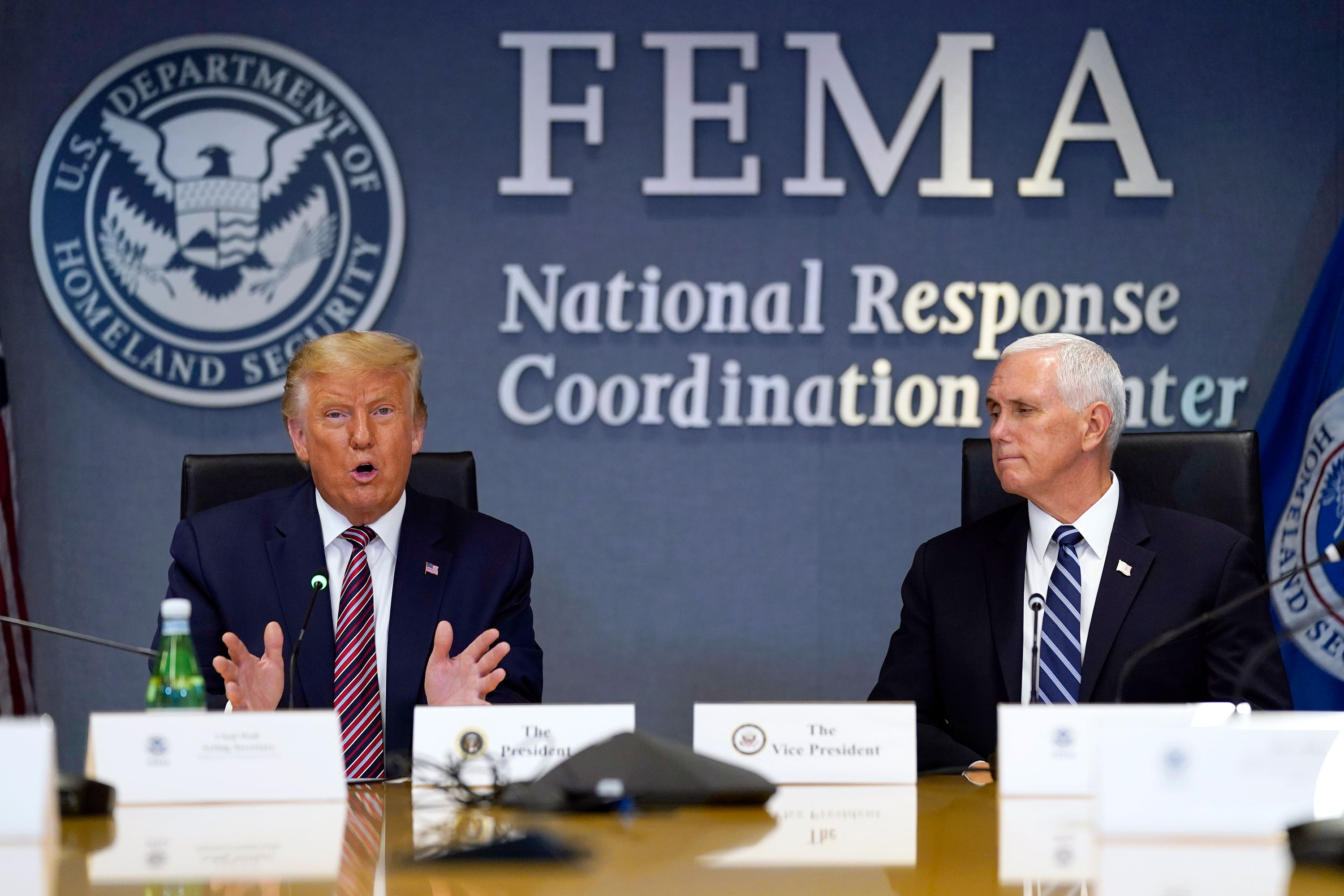 President Donald Trump speaks during a Hurricane Laura briefing at FEMA headquarters on August 27 in Washington, DC.