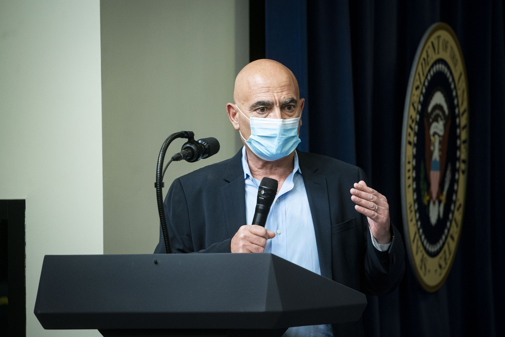 Moncef Slaoui, chief adviser for the Defense Department's Project Warp Speed, speaks during an Operation Warp Speed vaccine summit at the White House in Washington, D.C., on December 8.
