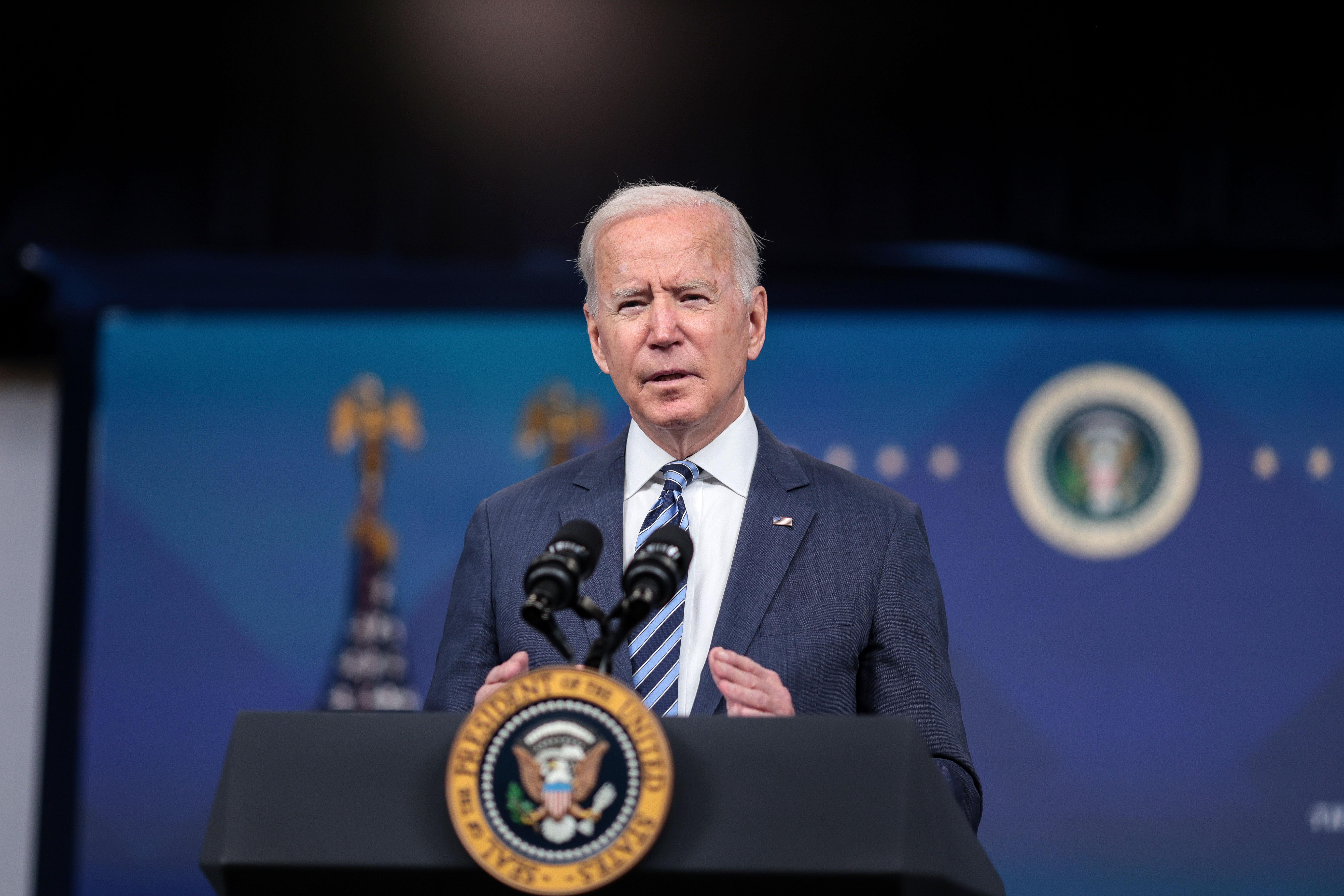 President Joe Biden speaks from the White House on August 20.