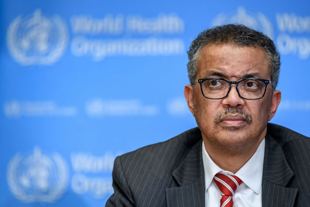 World Health Organization Director-General Tedros Adhanom Ghebreyesus attends a daily press briefing on the coronavirus at the WHO headquarters in Geneva on March 11.