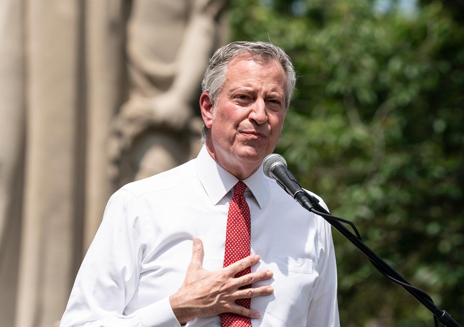 Mayor Bill de Blasio speaks during memorial service for George Floyd in New York on Thursday, June 4.
